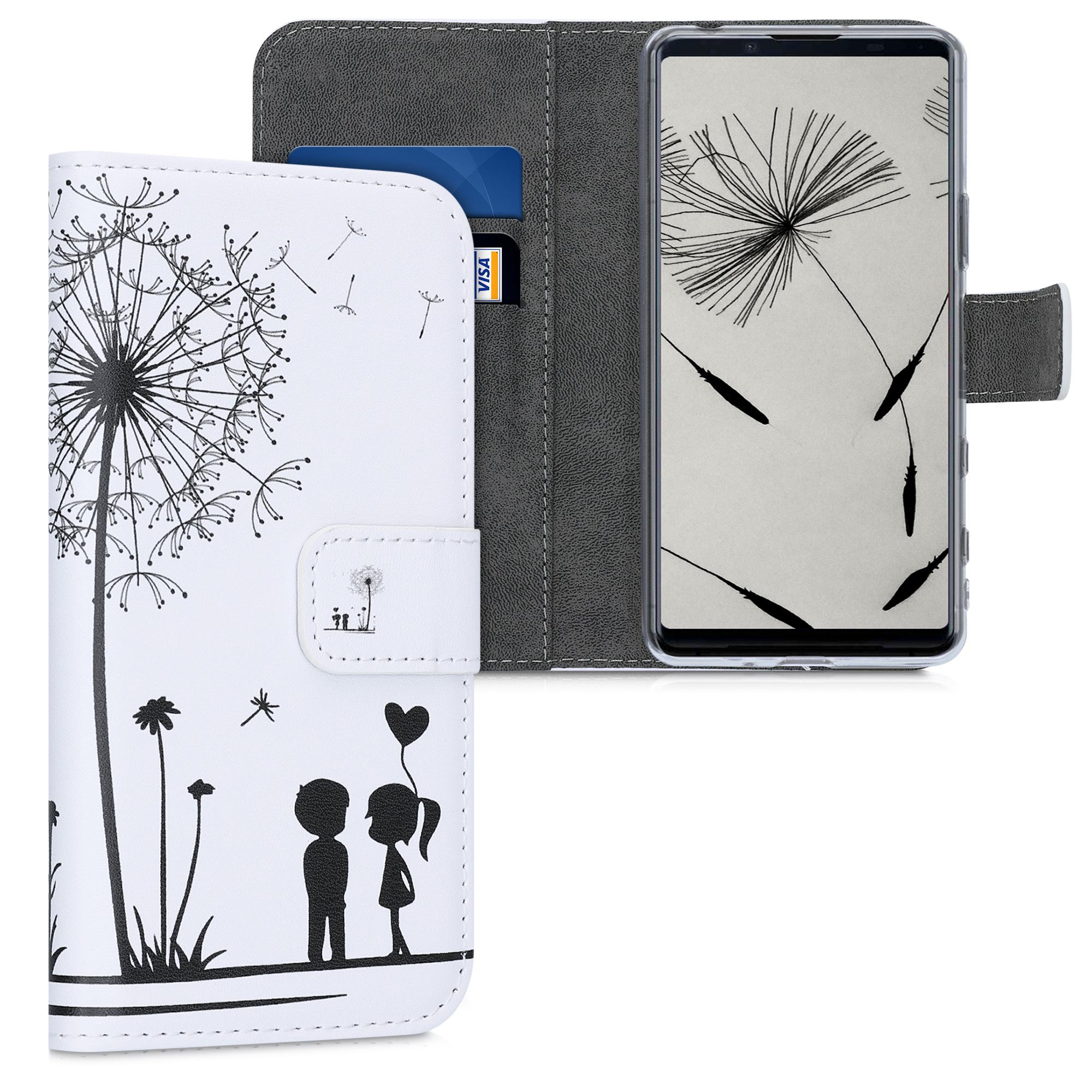 Kožené pouzdro | obal pro Sony Xperia 5 II - Pampeliška Láska černé / bílé