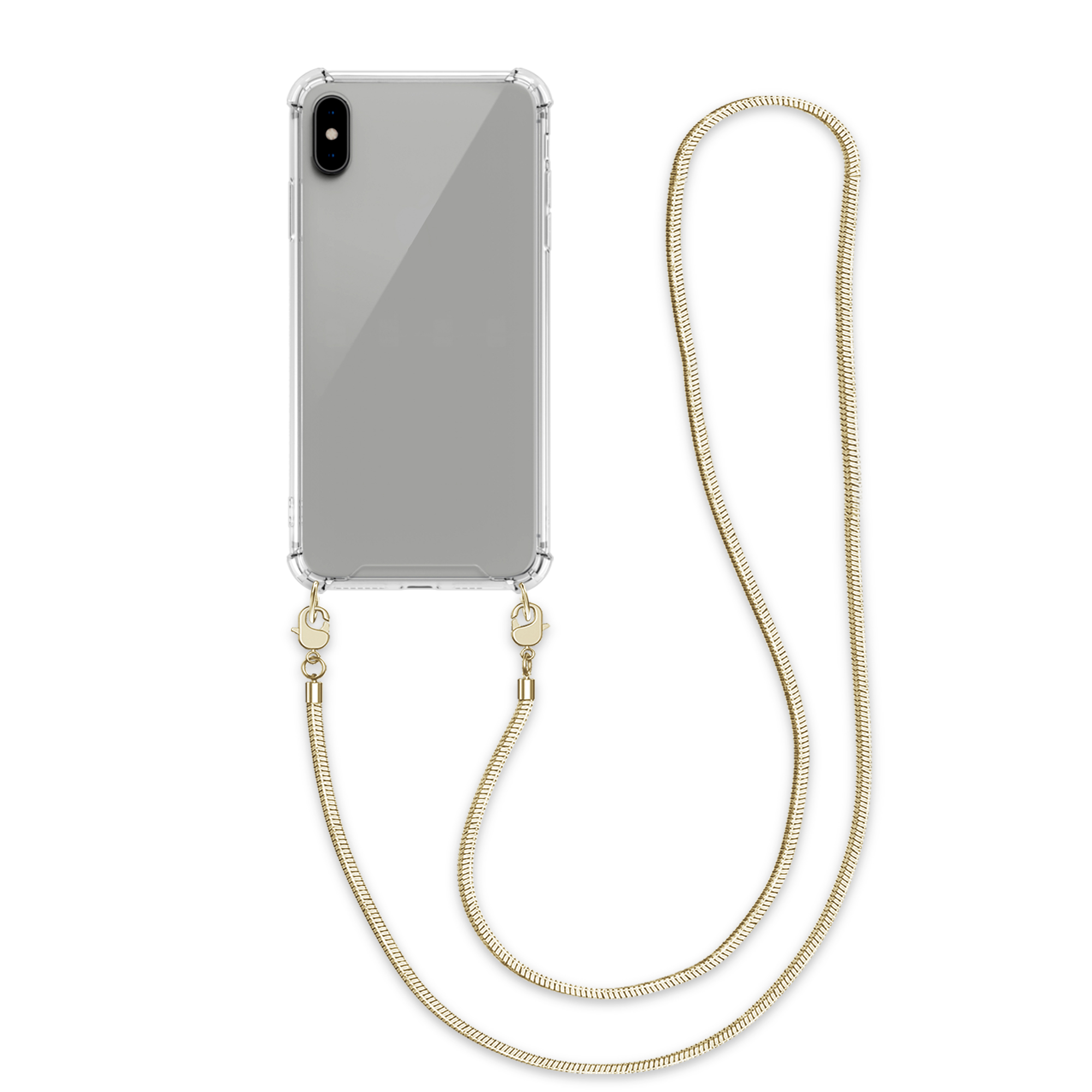 Kvalitní silikonové TPU pouzdro pro Apple iPhone XS Max - Transparent   Gold