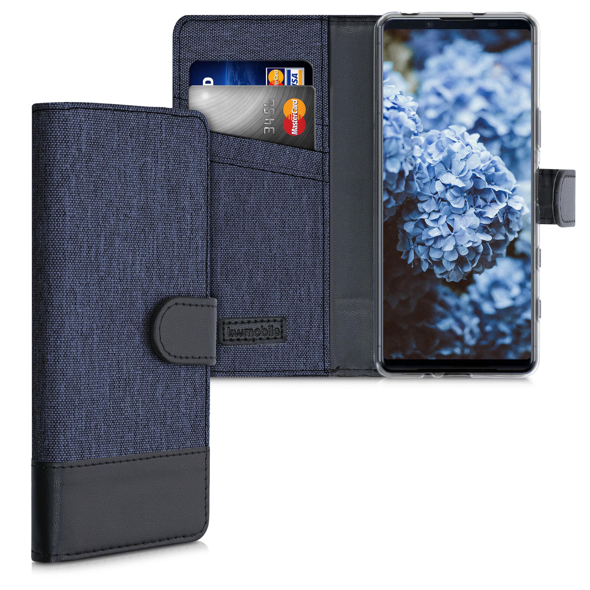 Textilní látkové pouzdro | obal pro Sony Xperia 5 II - tmavé modré / černé