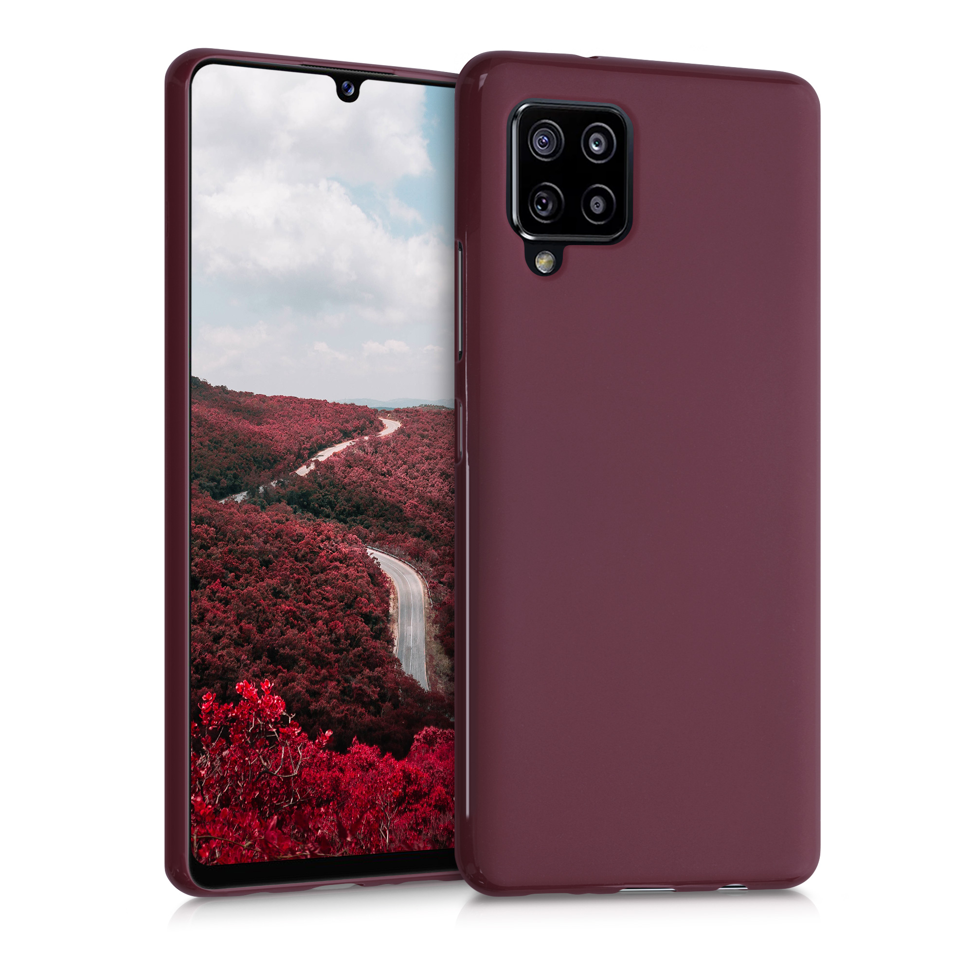 Kvalitní silikonové TPU pouzdro pro Samsung A42 5G - Tawny Red