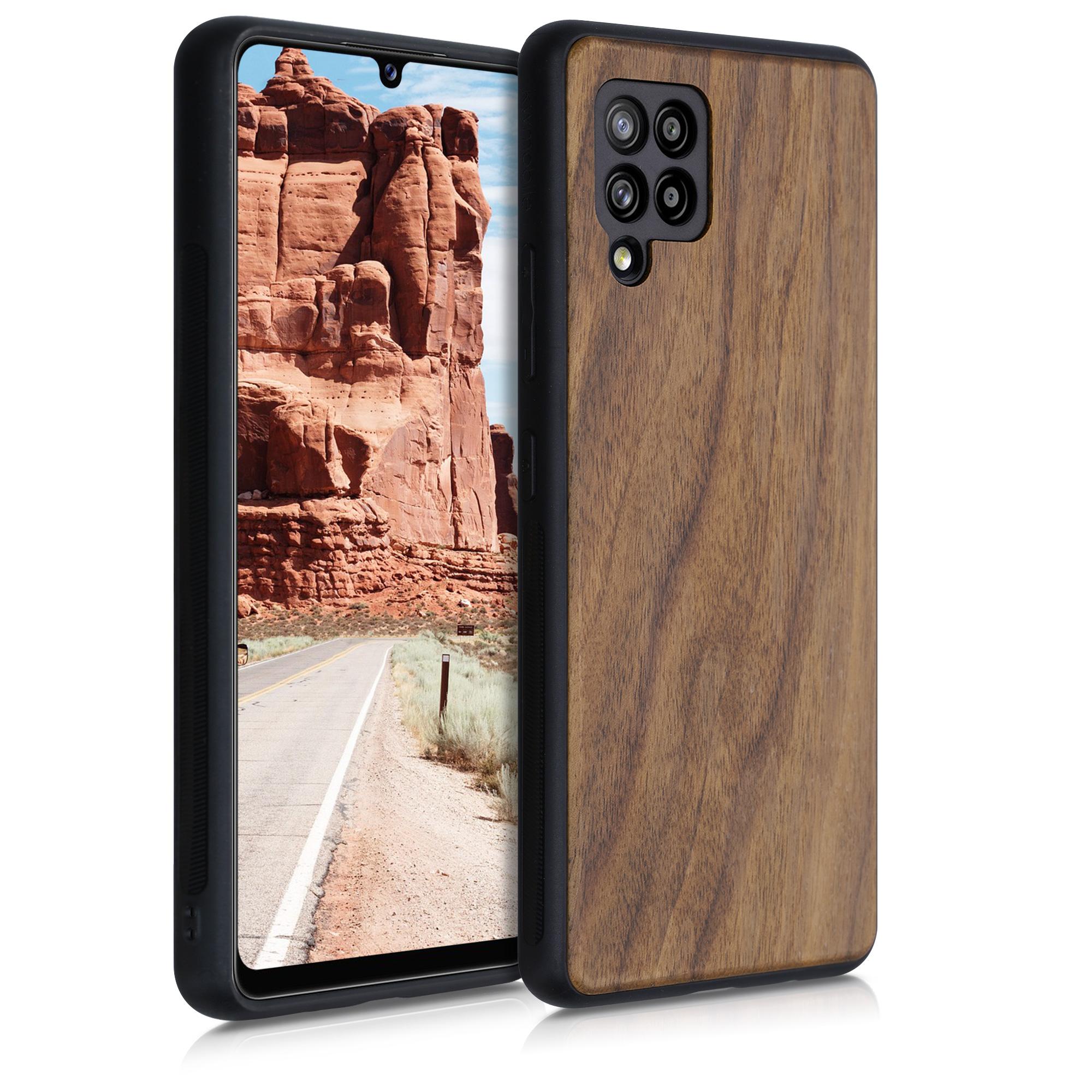 Dřevěné pouzdro pro Samsung A42 5G - tmavě hnědá
