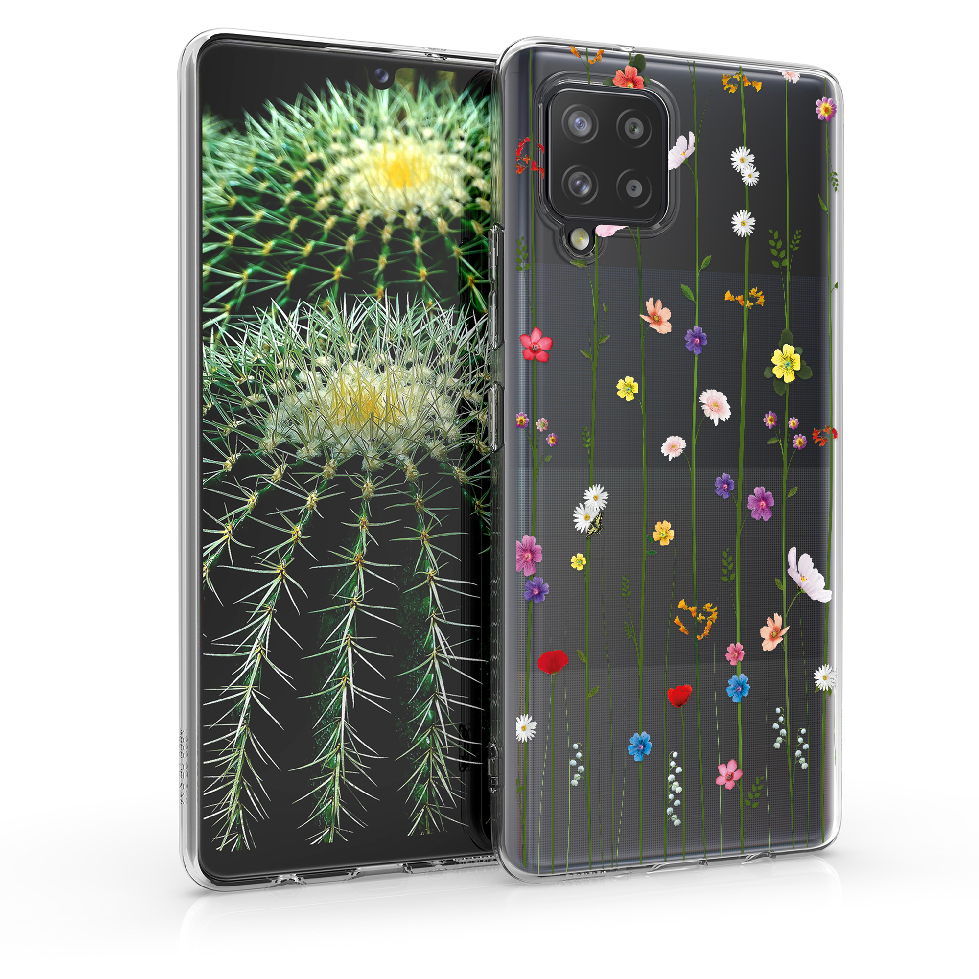 Kvalitní silikonové TPU pouzdro pro Samsung A42 5G - divoké květy Vines Multicolor / transparentní