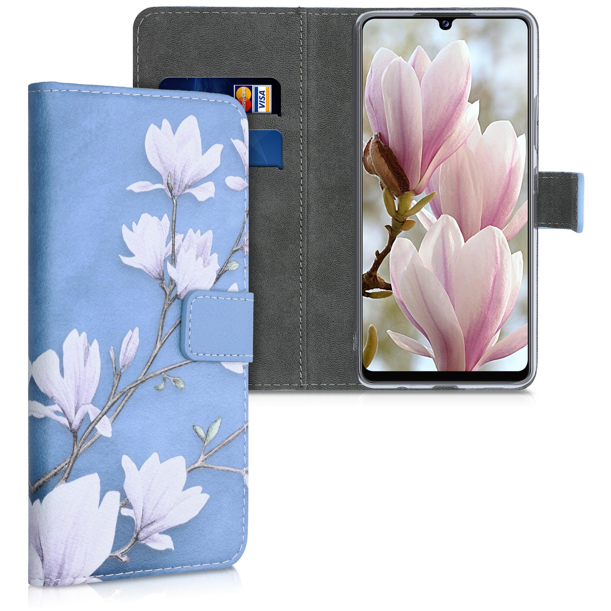 Kožené pouzdro pro Samsung A42 5G - Magnolie Taupe / bílá / modré šedé