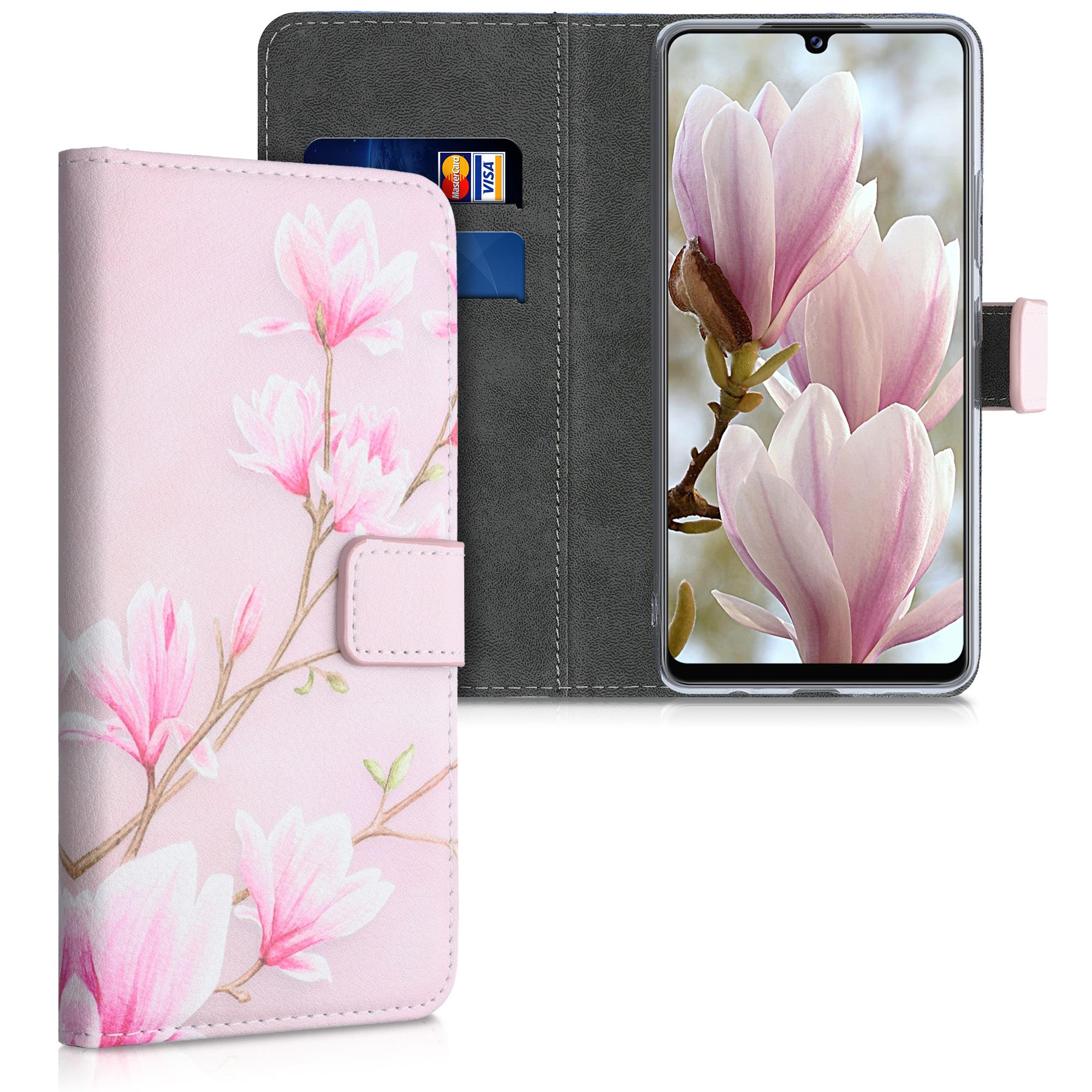 Kožené pouzdro pro Samsung A42 5G - Magnolie Pink / White / Pink Dusty