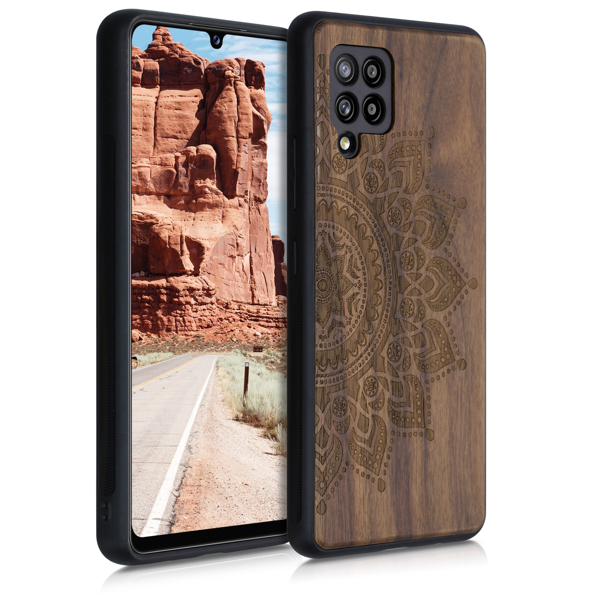 Dřevěné pouzdro pro Samsung A42 5G - Vycházející slunce tmavě hnědá