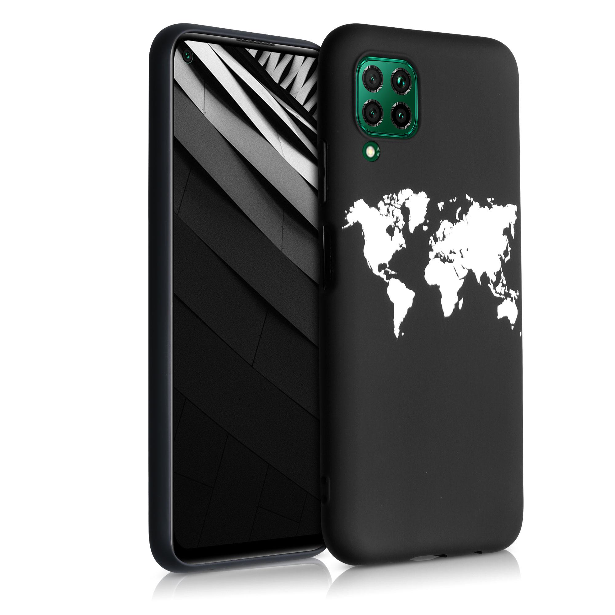 Černé silikonové pouzdro / obal pro Huawei P40 Lite s motivem mapy světa