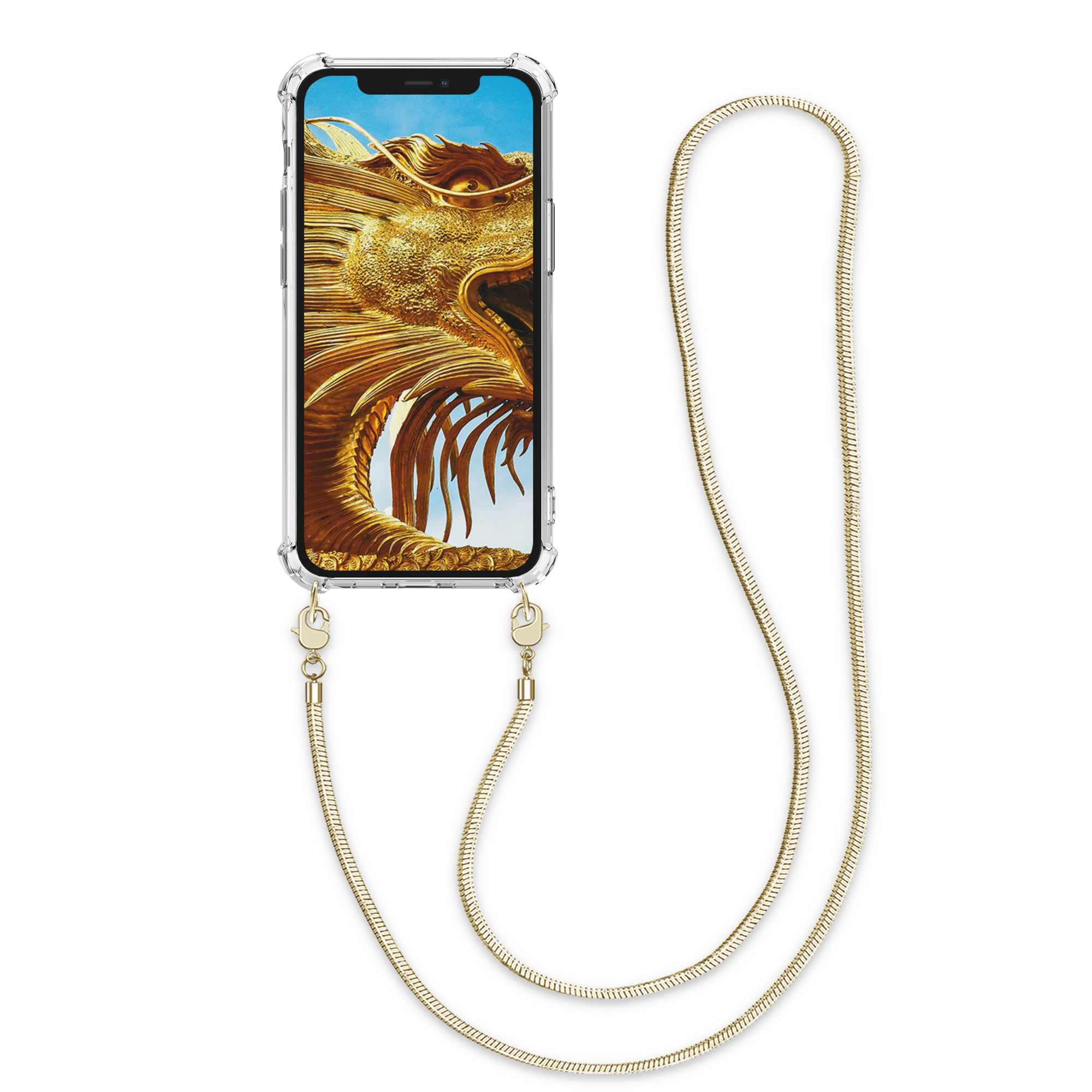 Kvalitní silikonové TPU pouzdro pro Apple iPhone 12 mini - Transparent | Gold