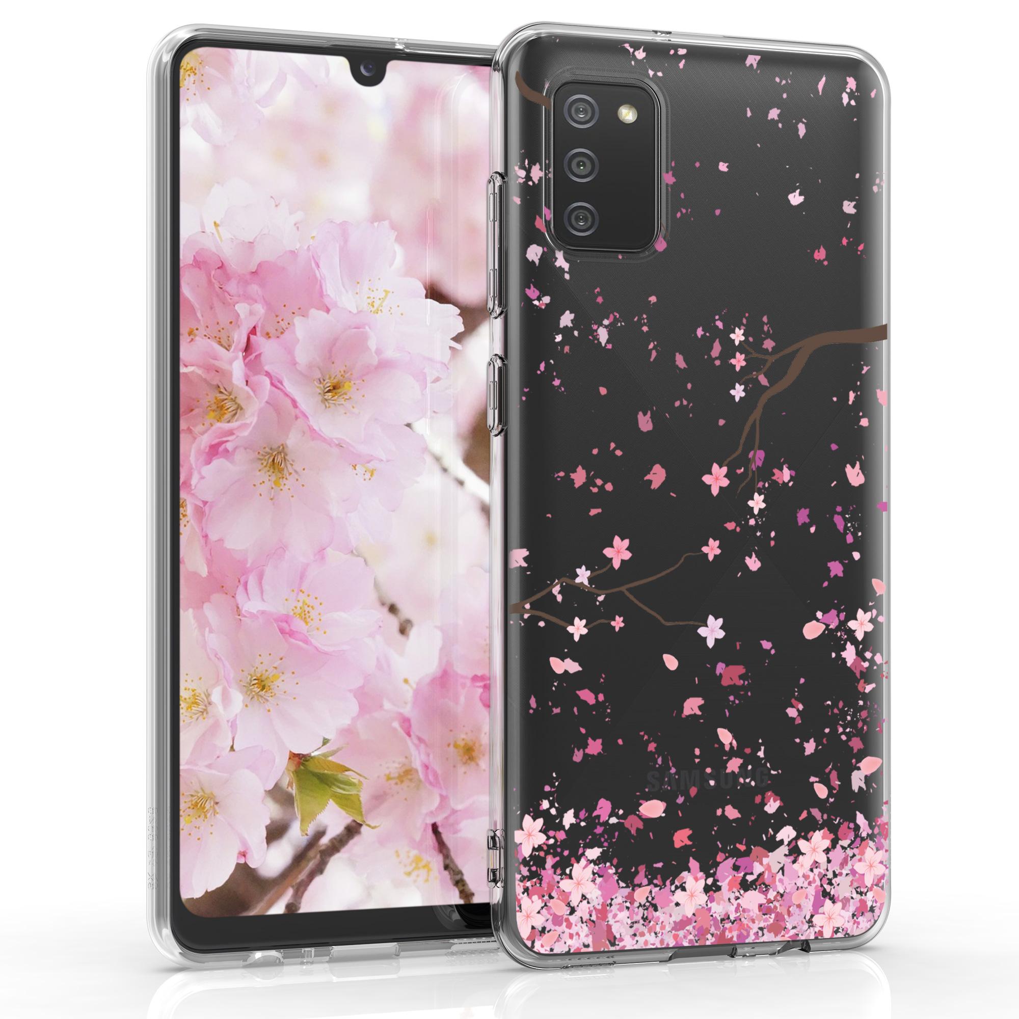 Kvalitní silikonové TPU pouzdro pro Samsung A02s - Cherry Blossoms růžové / tmavě hnědá / transparentní