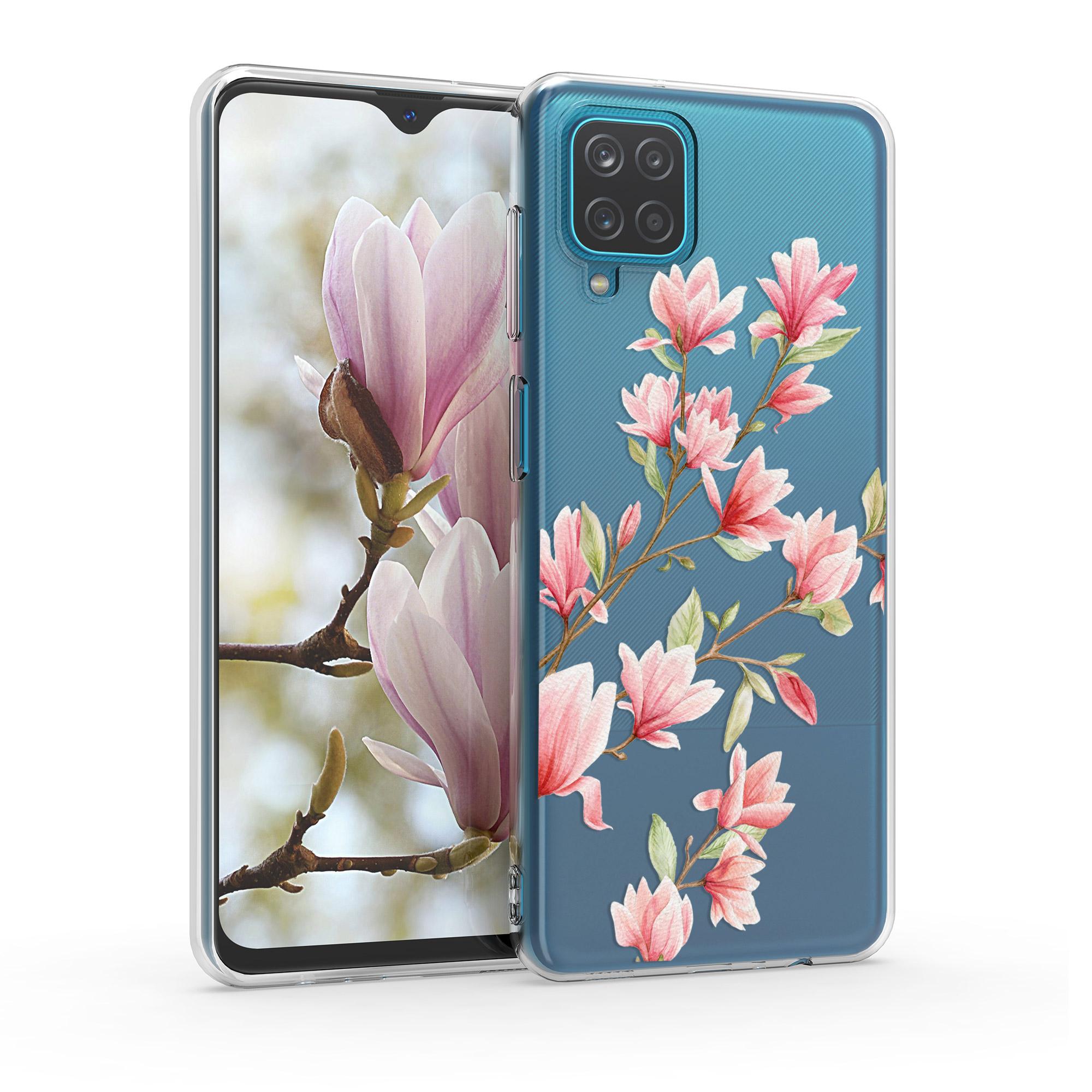 Kvalitní silikonové TPU pouzdro pro Samsung A12 - Magnolie růžové / bílé / transparentní