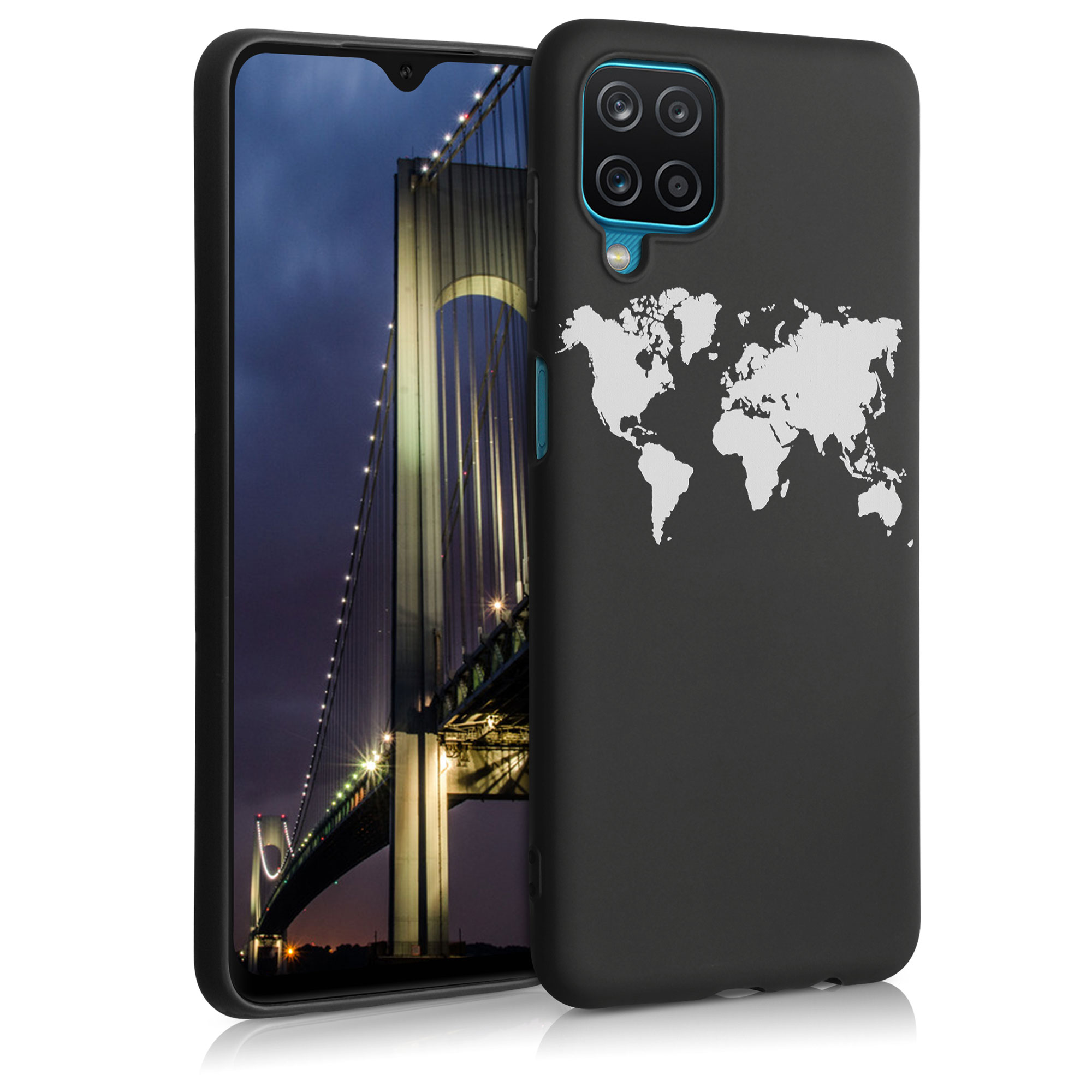 Kvalitní silikonové TPU pouzdro pro Samsung A12 - Travel Outline bílé / černé