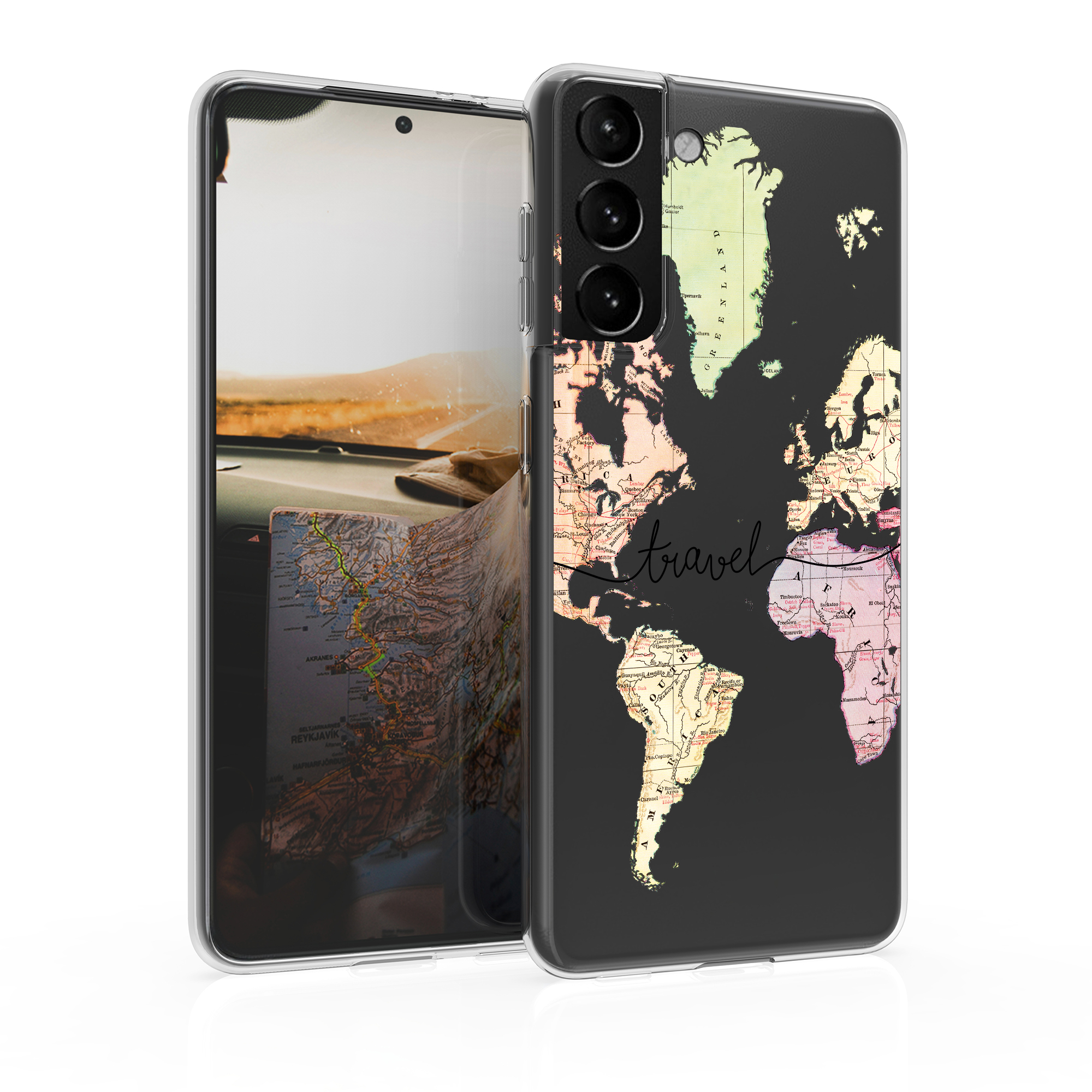 Kvalitní silikonové TPU pouzdro pro Samsung S21 - Travel Black / Multicolor / Transparent