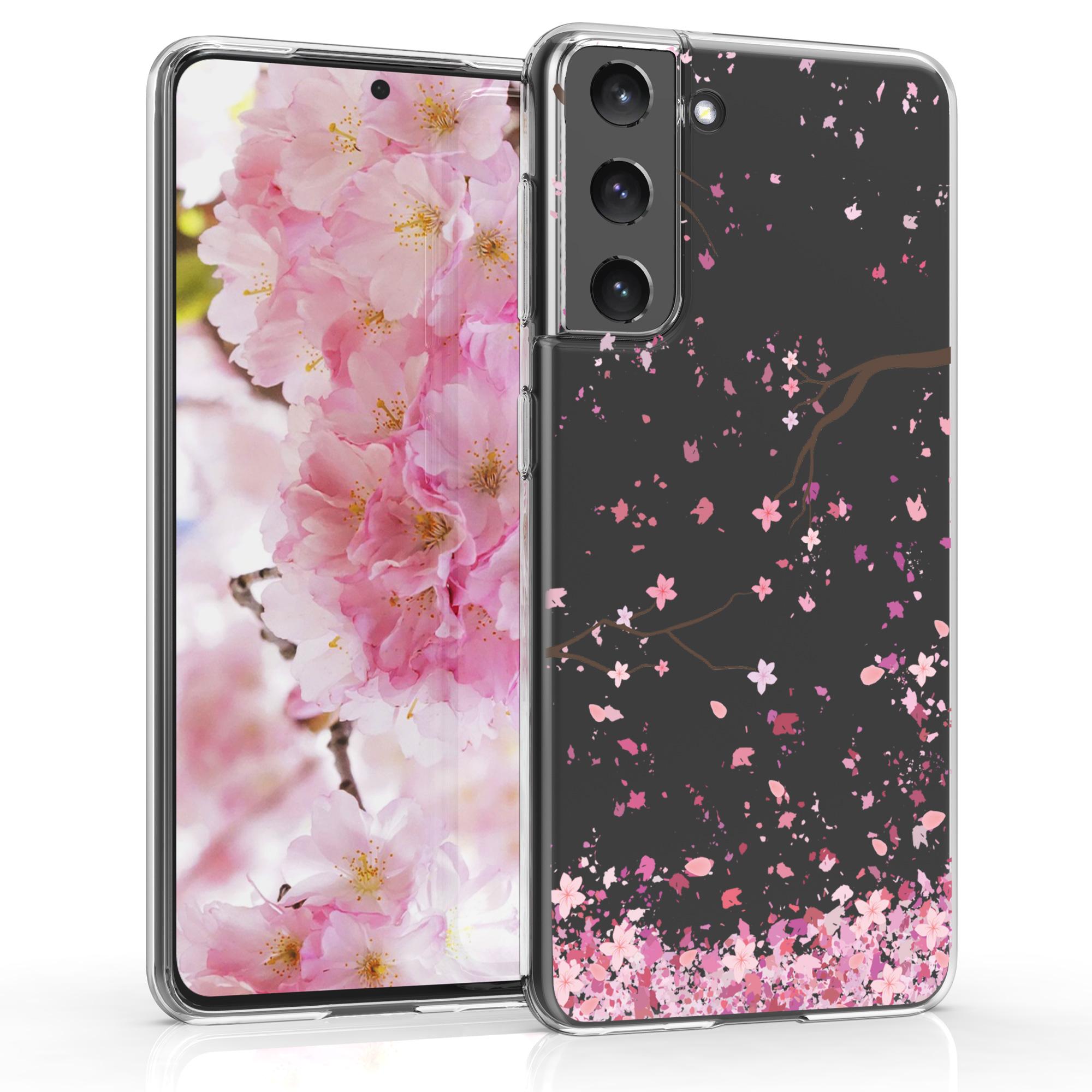 Kvalitní silikonové TPU pouzdro pro Samsung S21 - Cherry Blossoms růžové / tmavě hnědá / transparentní
