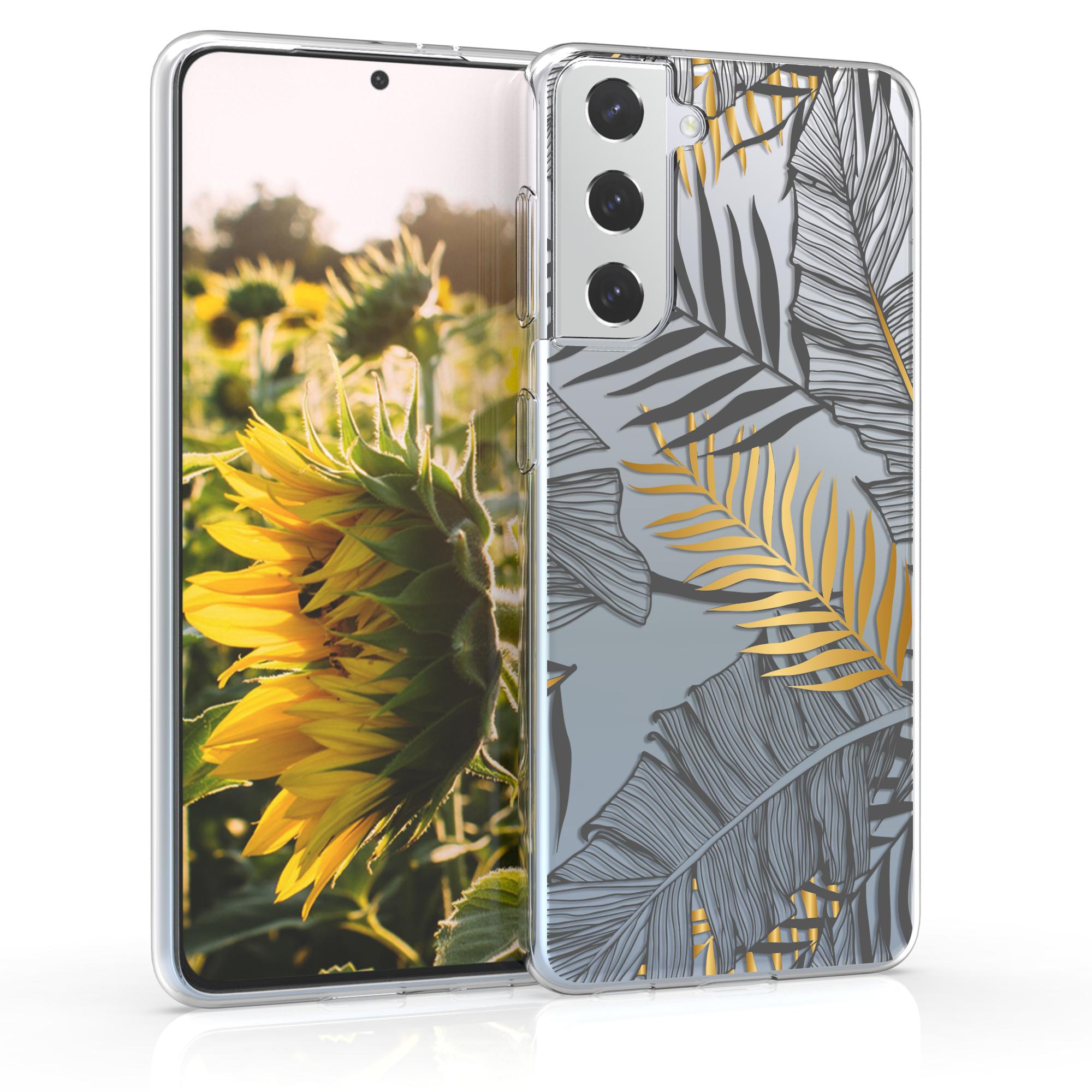 Kvalitní silikonové TPU pouzdro pro Samsung S21 - Palmové listy Gold / Grey / Transparent