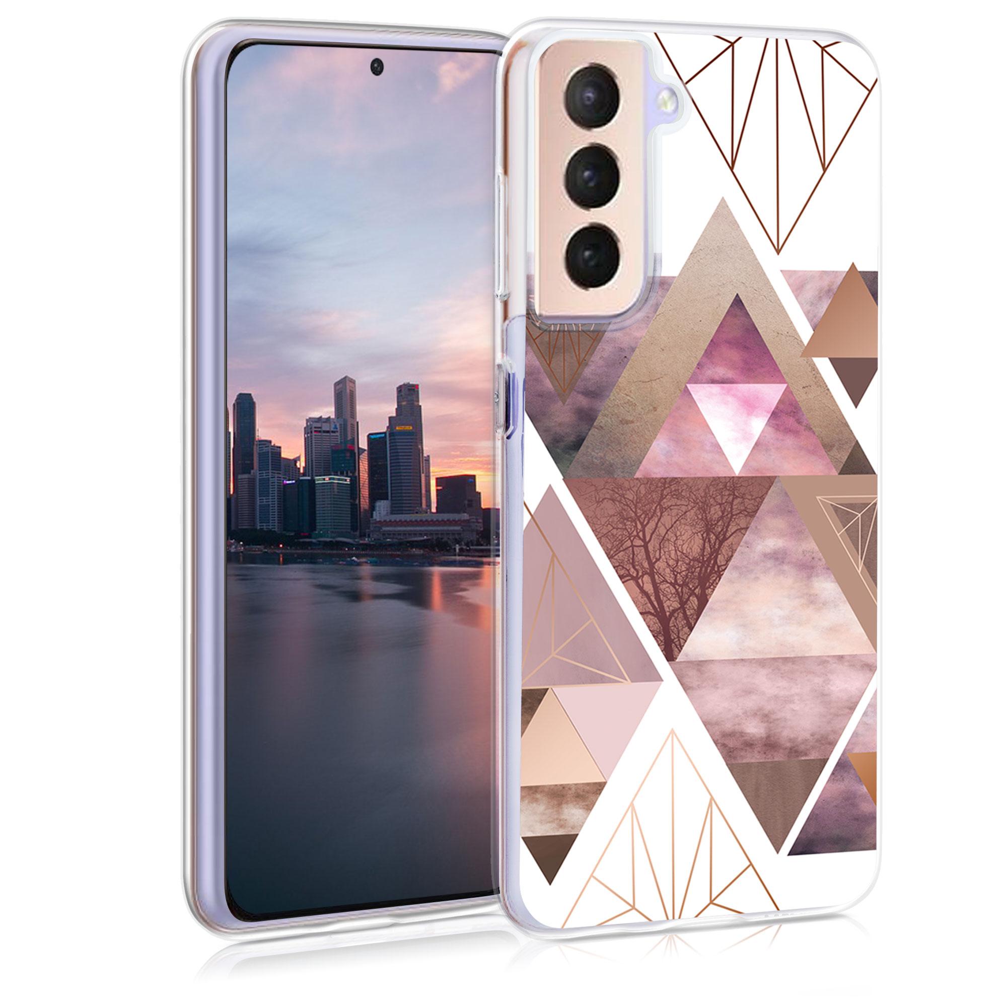 Kvalitní silikonové TPU pouzdro pro Samsung S21 - Patchwork trojúhelníky světle růžové / starorůžové rosegold / bílé