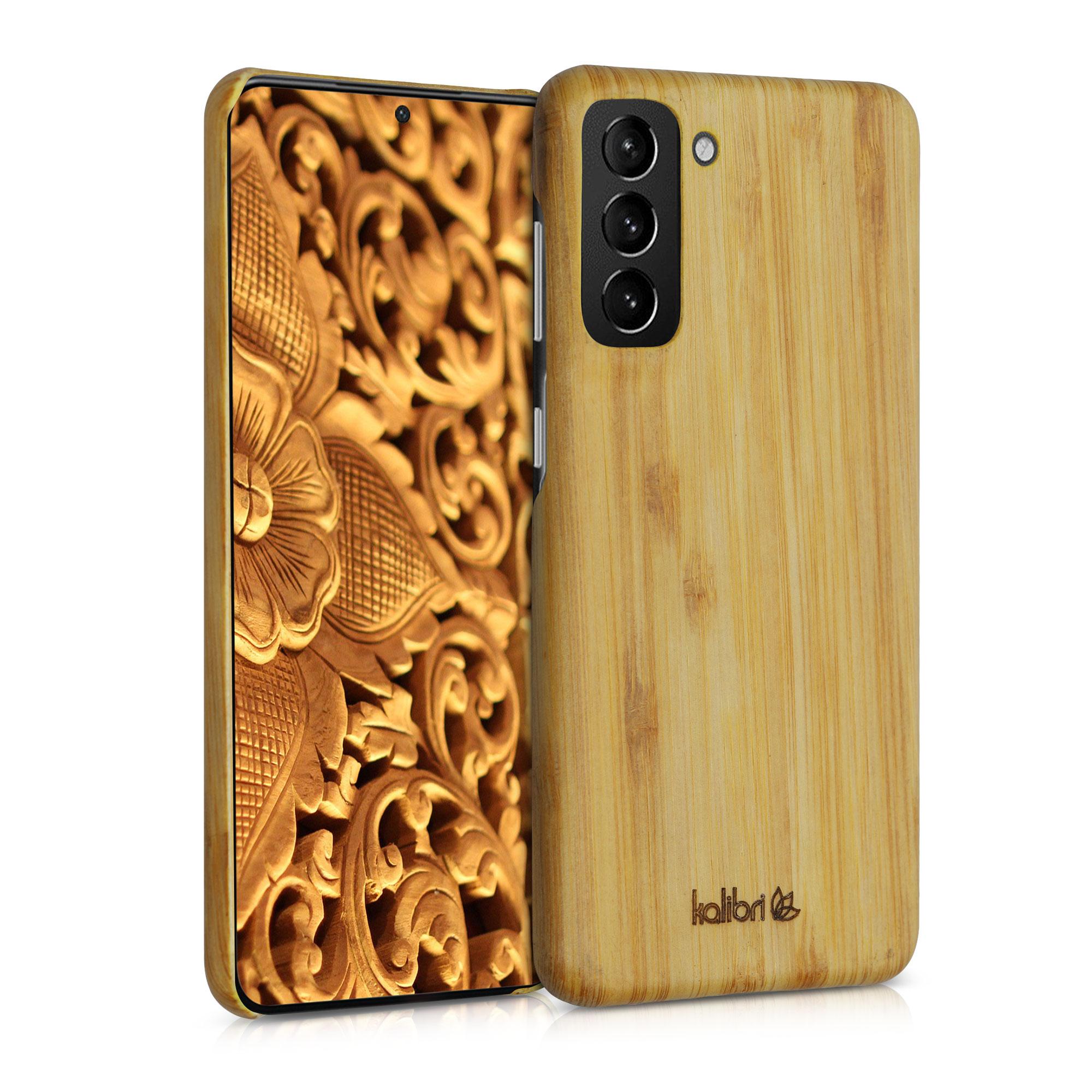 Světlé dřevěné pouzdro   obal pro Samsung Galaxy S21