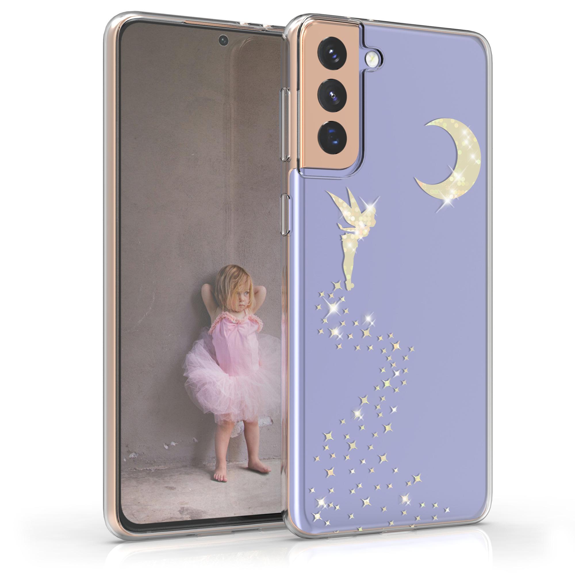 Kvalitní silikonové TPU pouzdro pro Samsung S21 Plus - Třpytivé víla Gold / Transparent