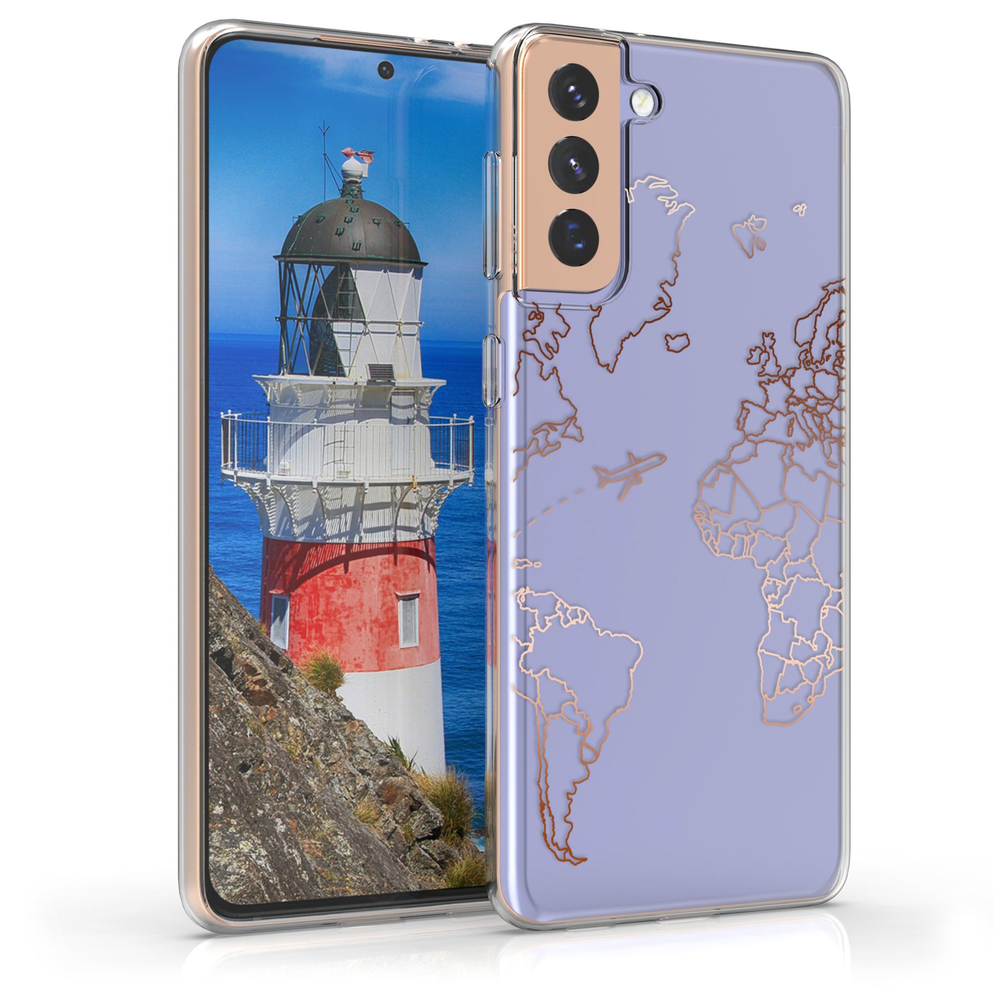 Kvalitní silikonové TPU pouzdro pro Samsung S21 Plus - Travel & Prozkoumat Rose Gold / Transparent