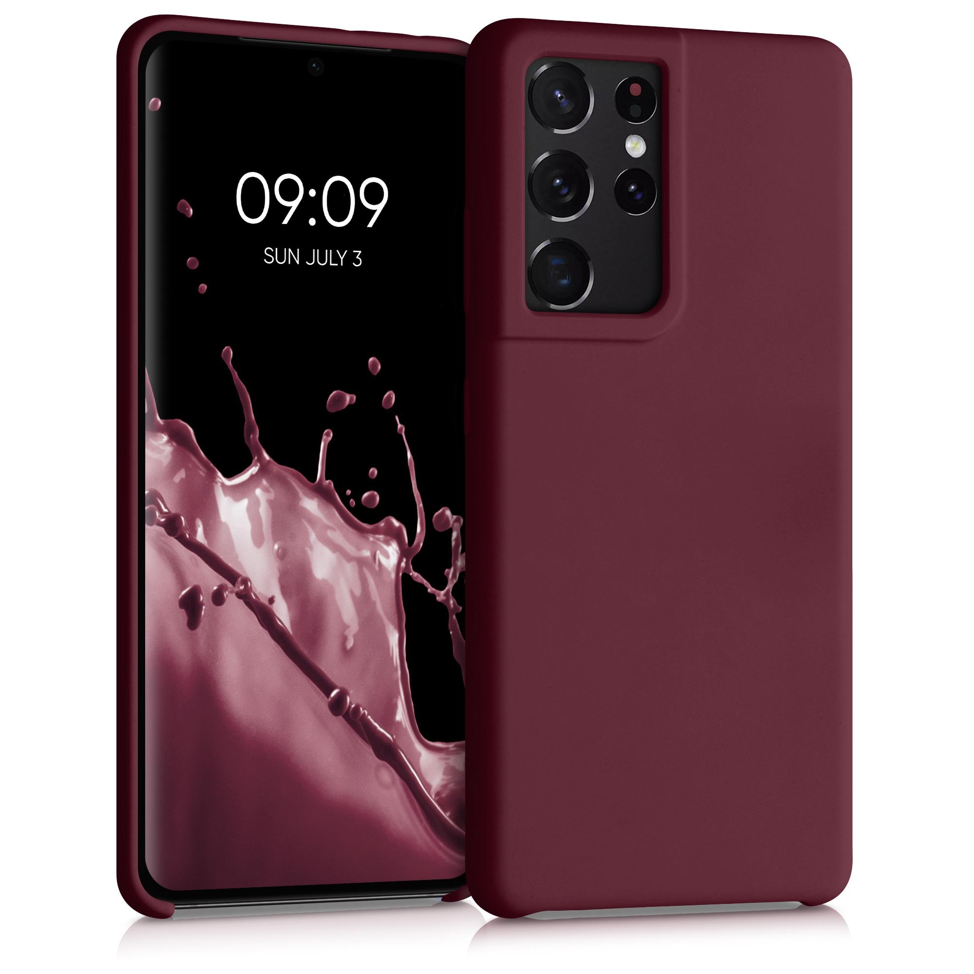Kvalitní silikonové TPU pouzdro pro Samsung S21 Ultra - Tawny červené