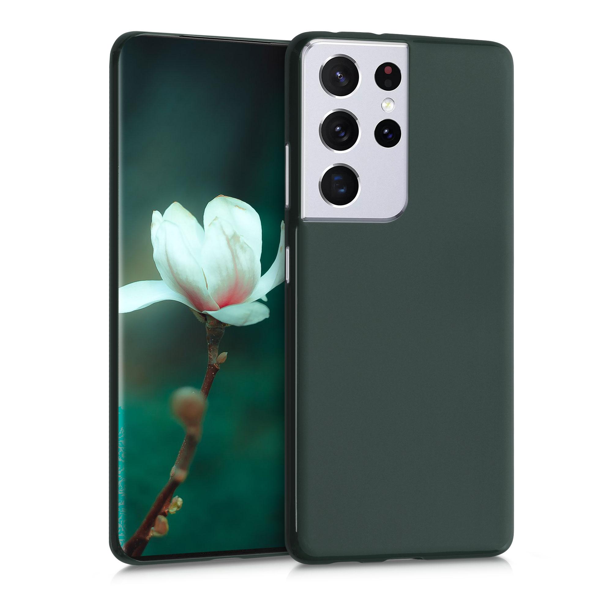 Kvalitní silikonové TPU pouzdro pro Samsung S21 Ultra - Moss Green