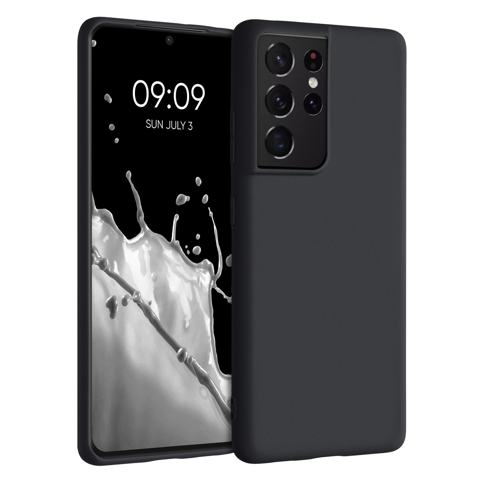 Kvalitní silikonové TPU pouzdro pro Samsung S21 Ultra - Black Matte
