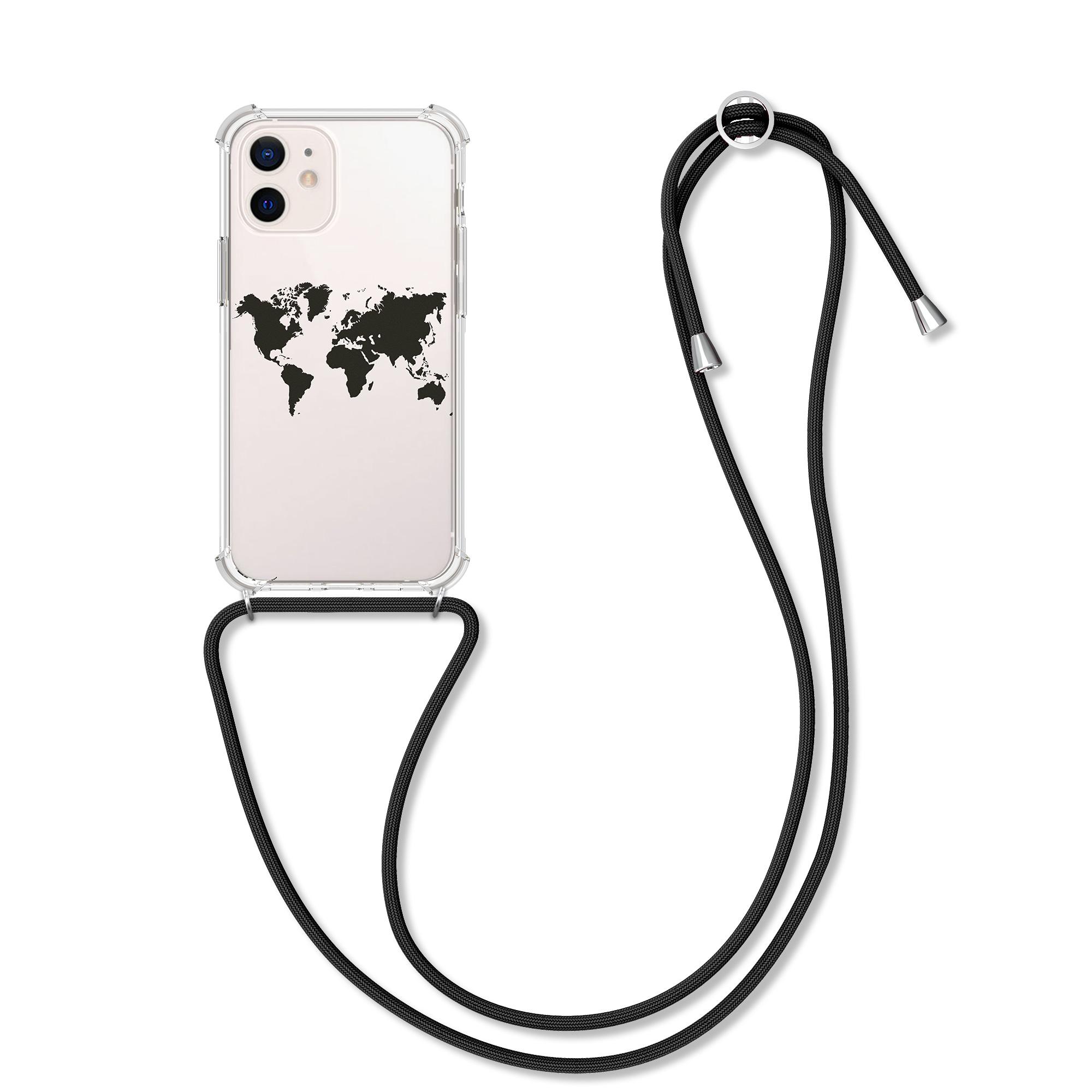 Kvalitní silikonové TPU pouzdro pro Apple iPhone 12 mini - Travel Outline Black | Transparent