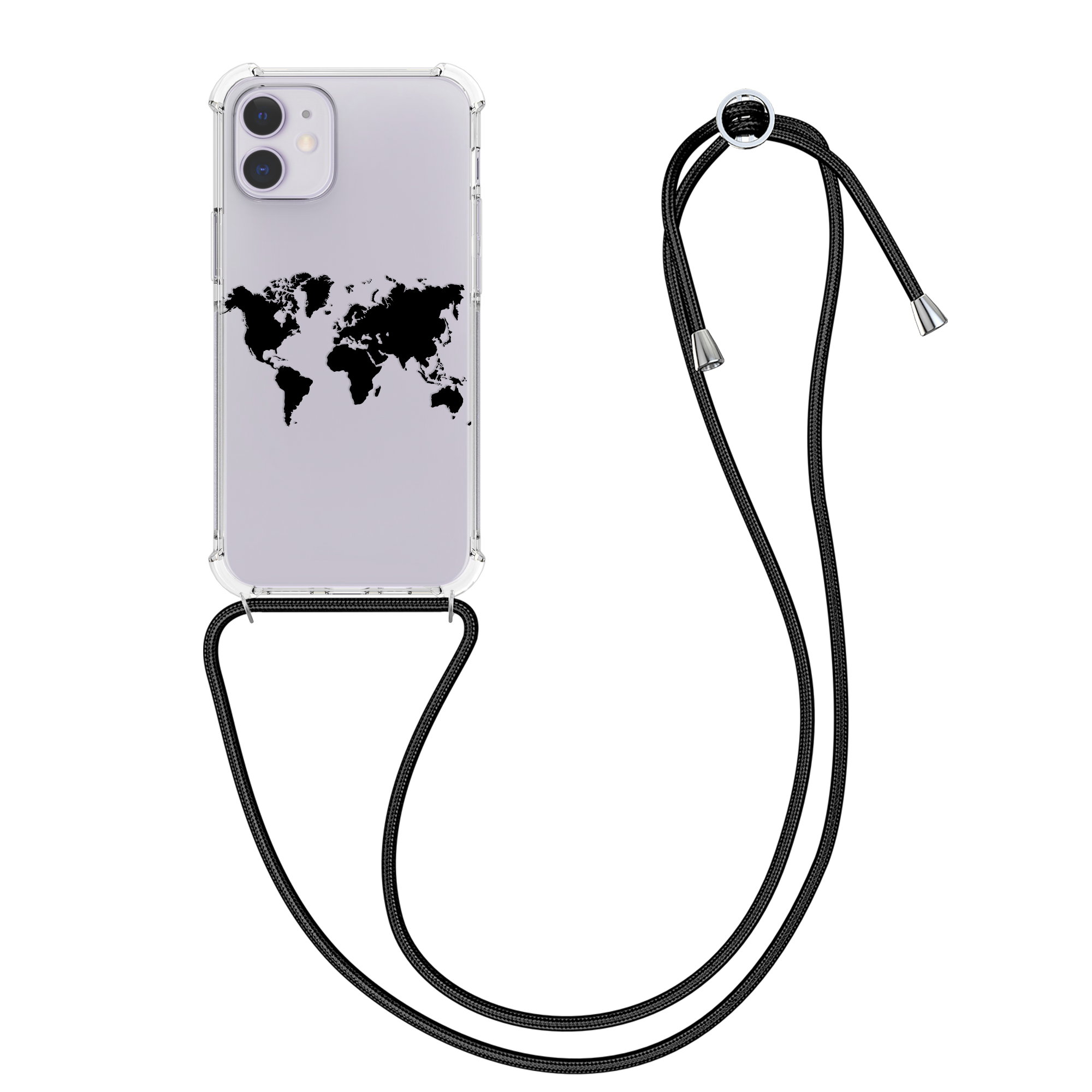 Kvalitní silikonové TPU pouzdro pro Apple iPhone 12 / 12 Pro - Travel Outline Black | Transparent
