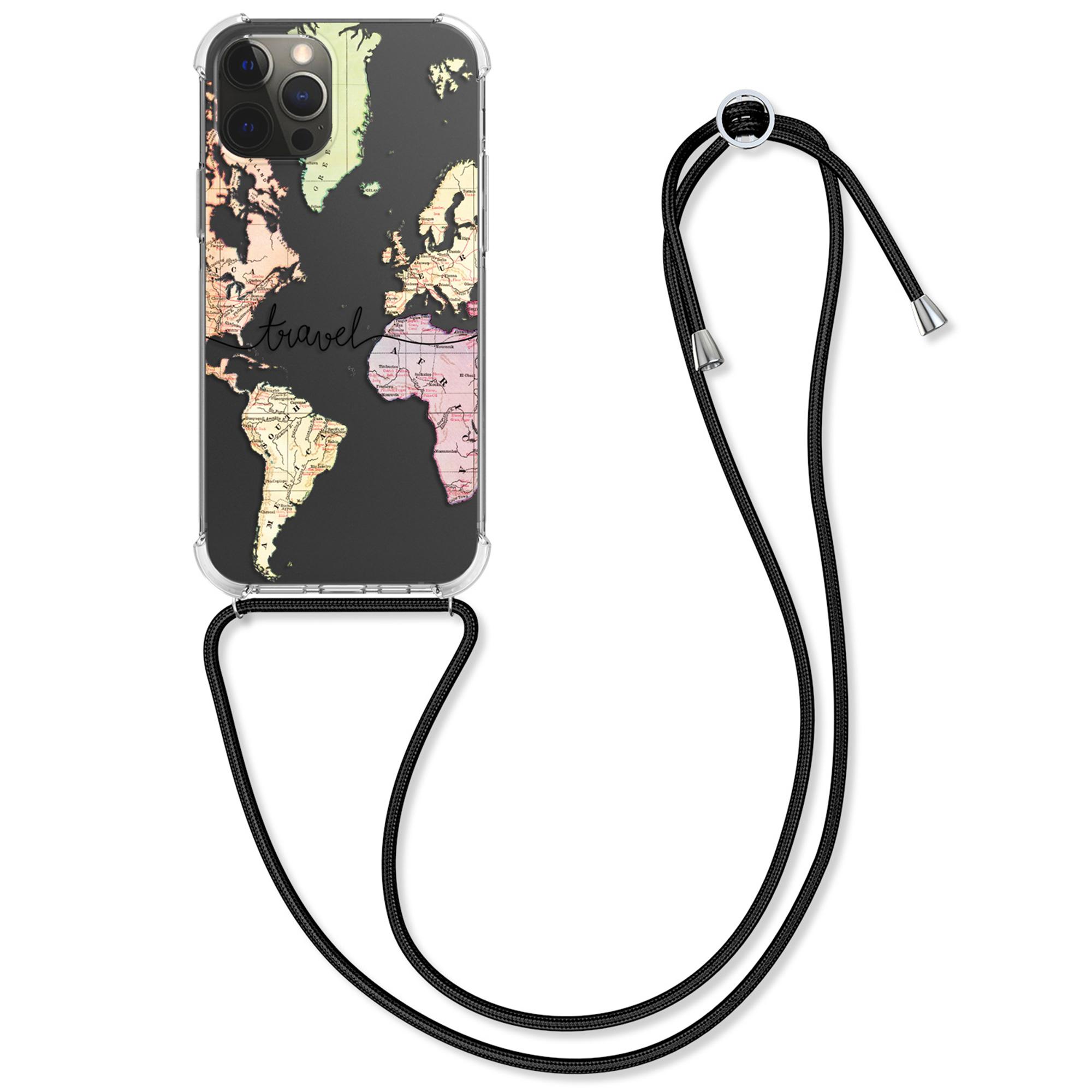 Kvalitní silikonové TPU pouzdro pro Apple iPhone 12 Pro Max - Travel Black | Multicolor | Transparent
