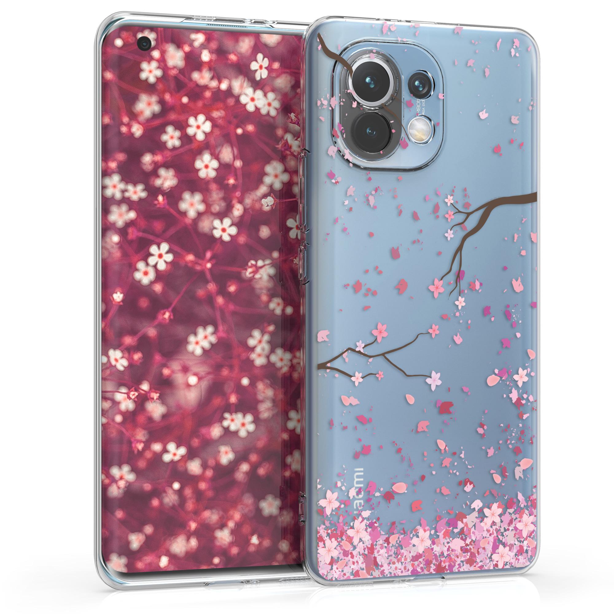 Kvalitní silikonové TPU pouzdro | obal pro Xiaomi Mi 11 -  Třešňové květy Růžová / Tmavě hnědá / Transparentní