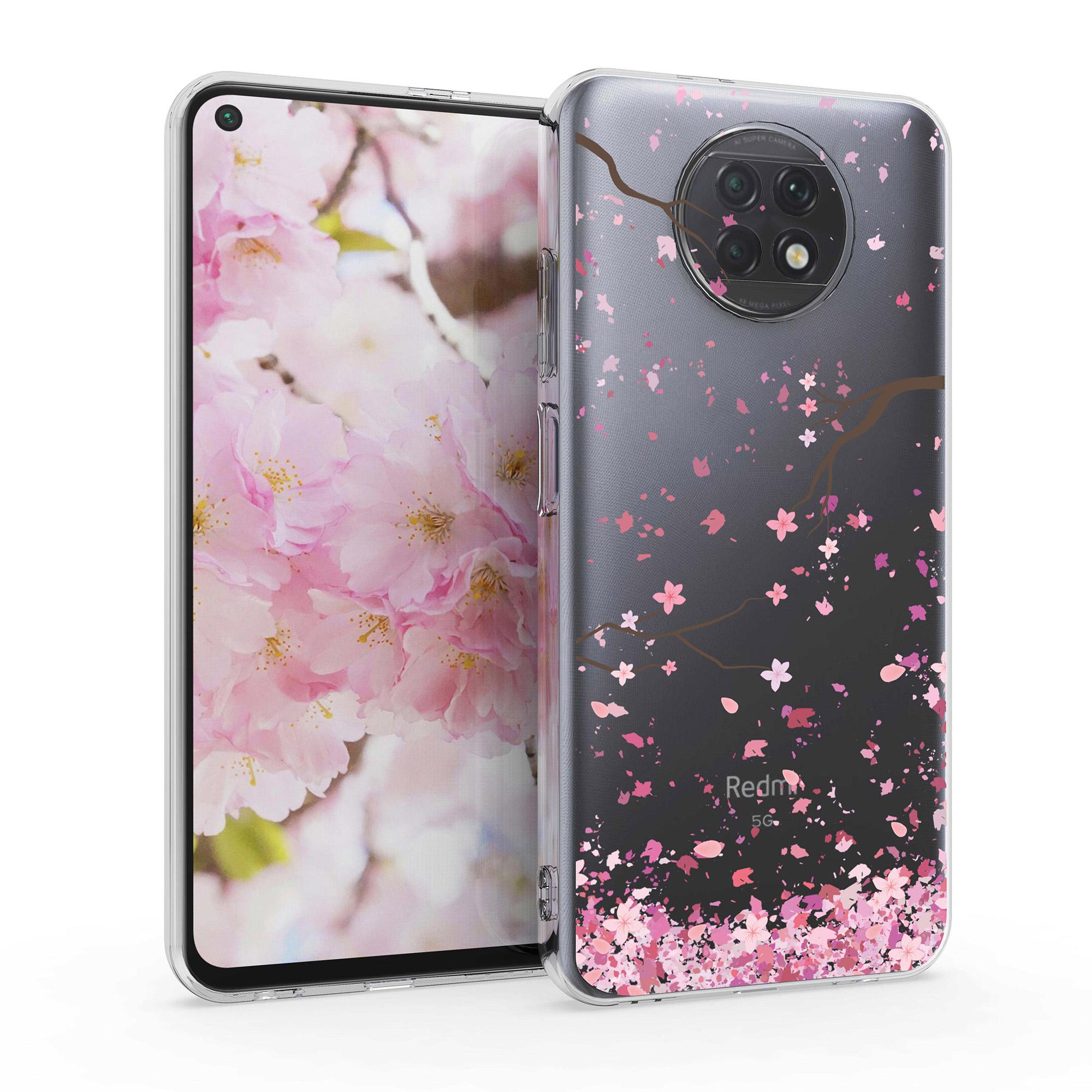 Kvalitní silikonové TPU pouzdro | obal pro Xiaomi Redmi Note 9T - Cherry Blossoms růžový / tmavě hnědá / transparentní