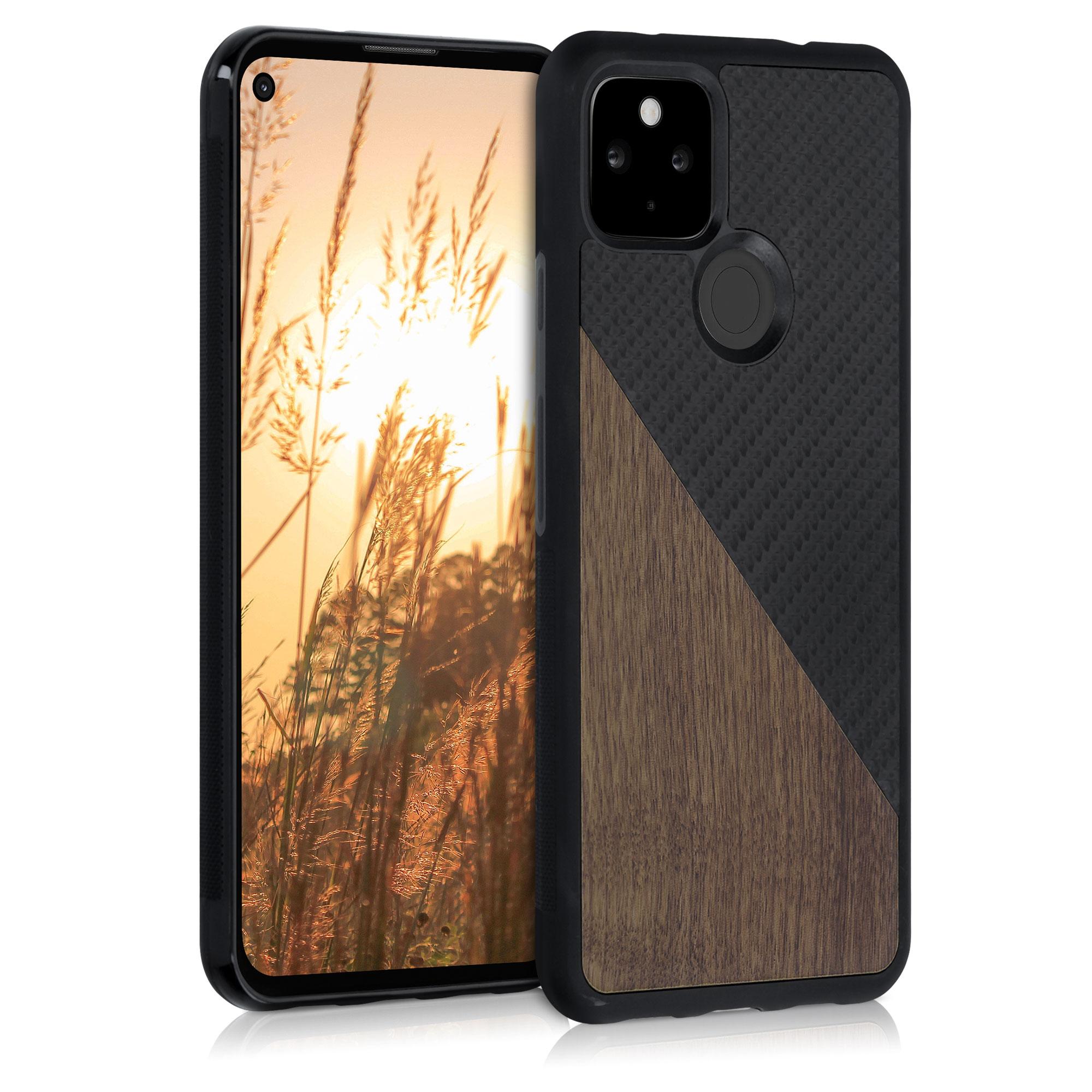 Dřevěné pouzdro | obal pro Google Pixel 4a 5G - Tmavě hnědá / černá