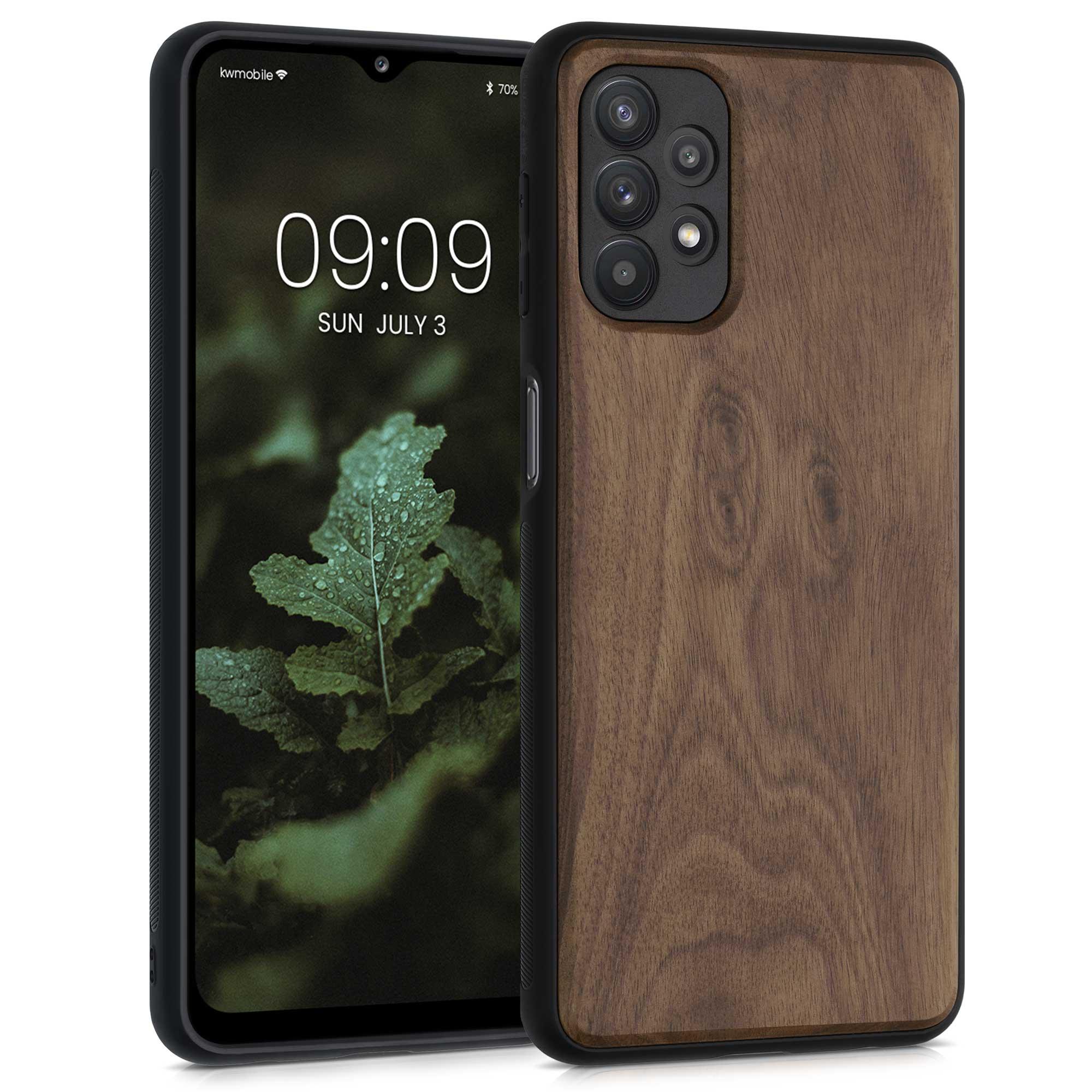 Dřevěné pouzdro pro Samsung A32 5G - tmavě hnědá