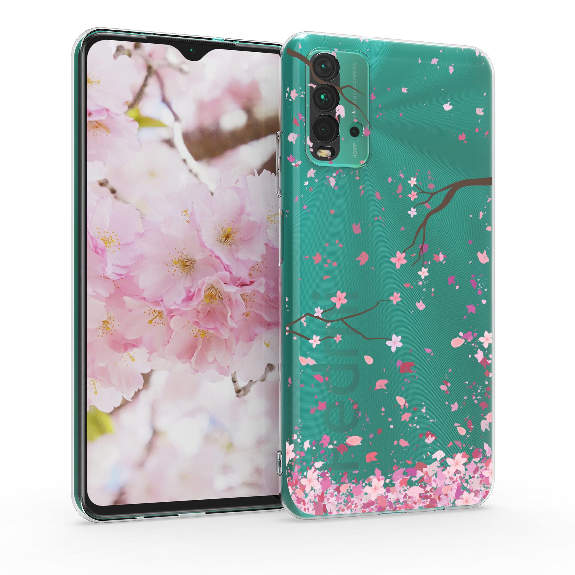 Kvalitní silikonové TPU pouzdro | obal pro Xiaomi Redmi 9T - Cherry Blossoms růžový / tmavě hnědá / transparentní