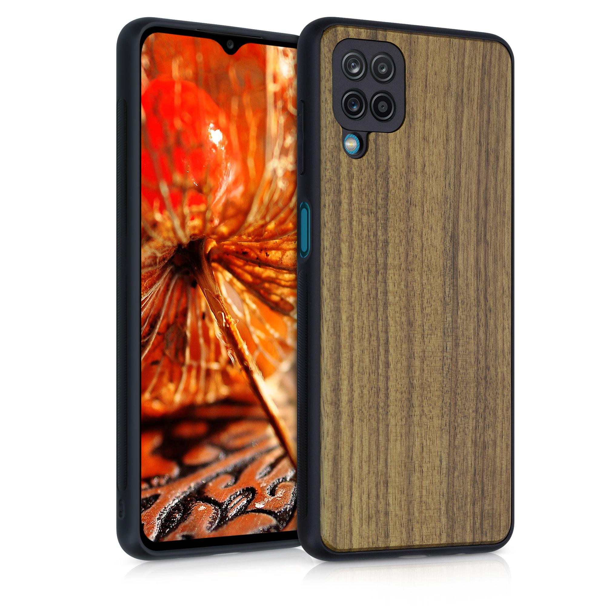 Dřevěné pouzdro pro Samsung A12 - tmavě hnědá