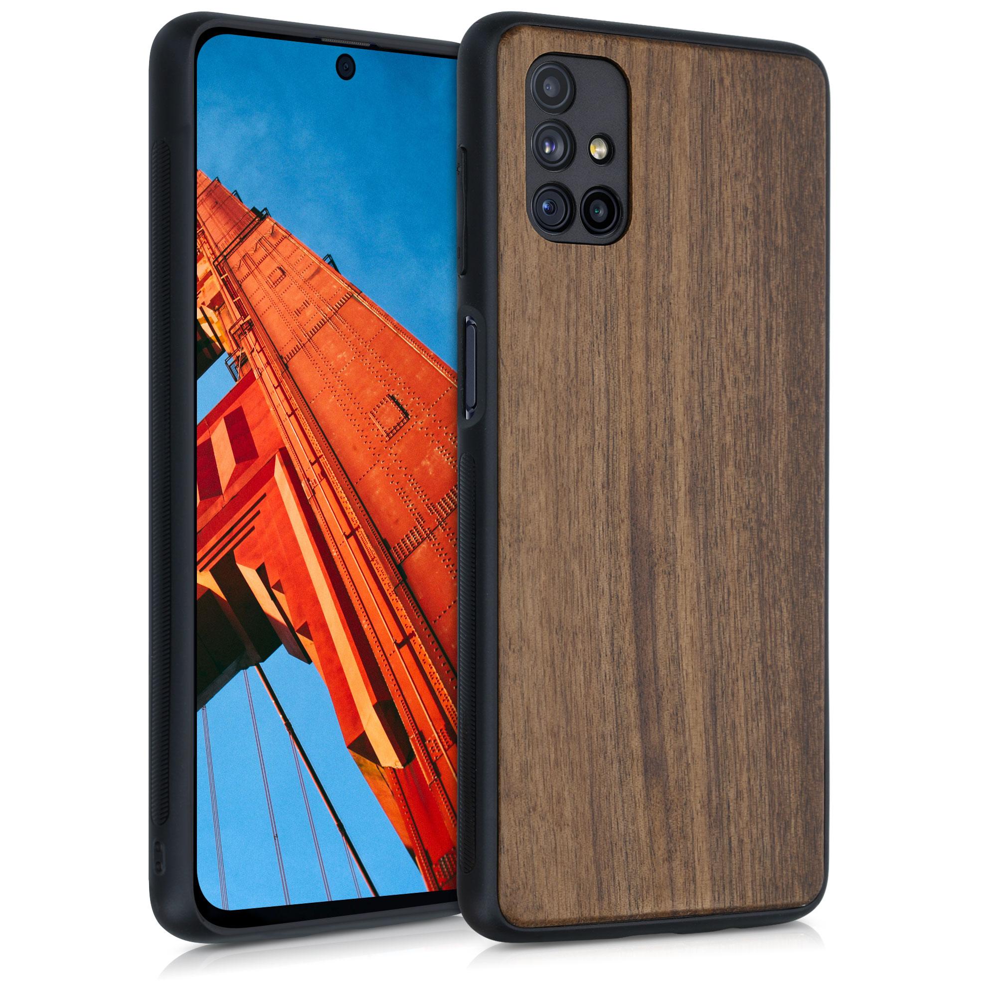 Dřevěné pouzdro pro Samsung M51 - tmavě hnědá