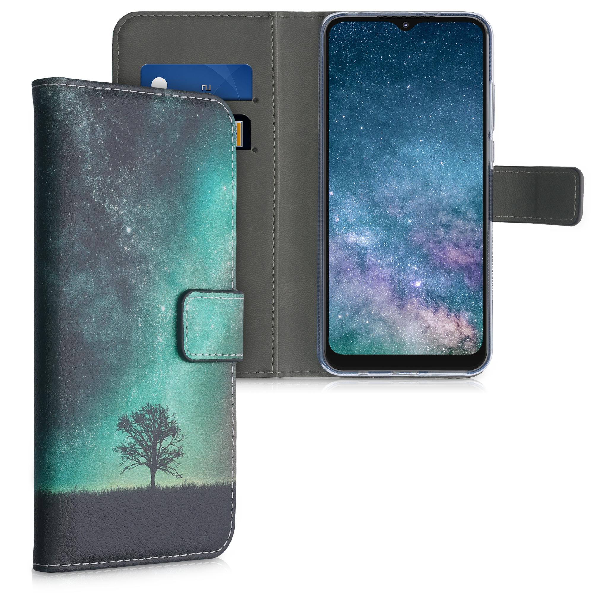 Kožené pouzdro   obal pro Motorola Moto G Play (2021) - Kosmická příroda Modrá / Šedá / Černá