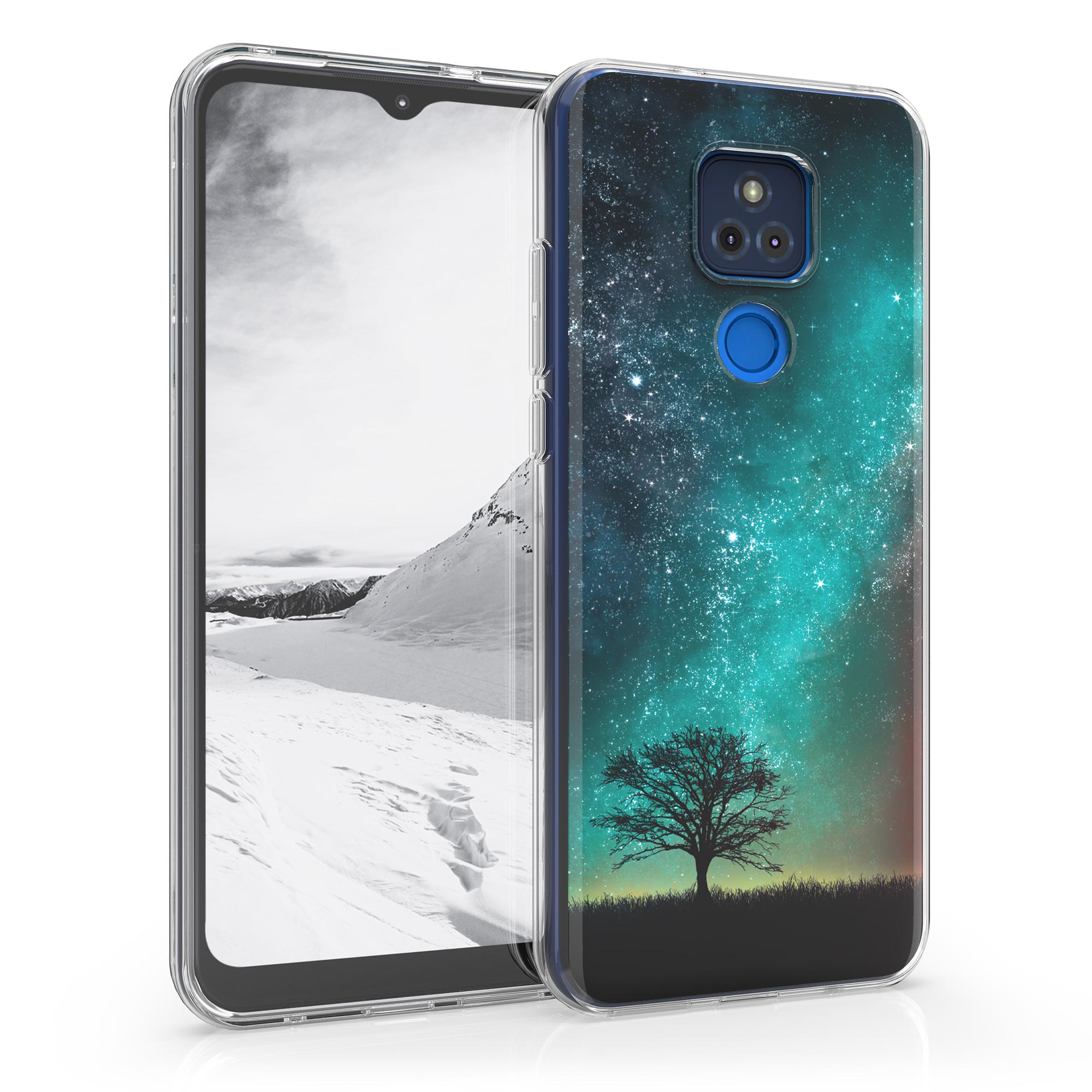 Kvalitní silikonové TPU pouzdro   obal pro Motorola Moto G Play (2021) - Cosmic Nature Modrá / Šedá / Černá