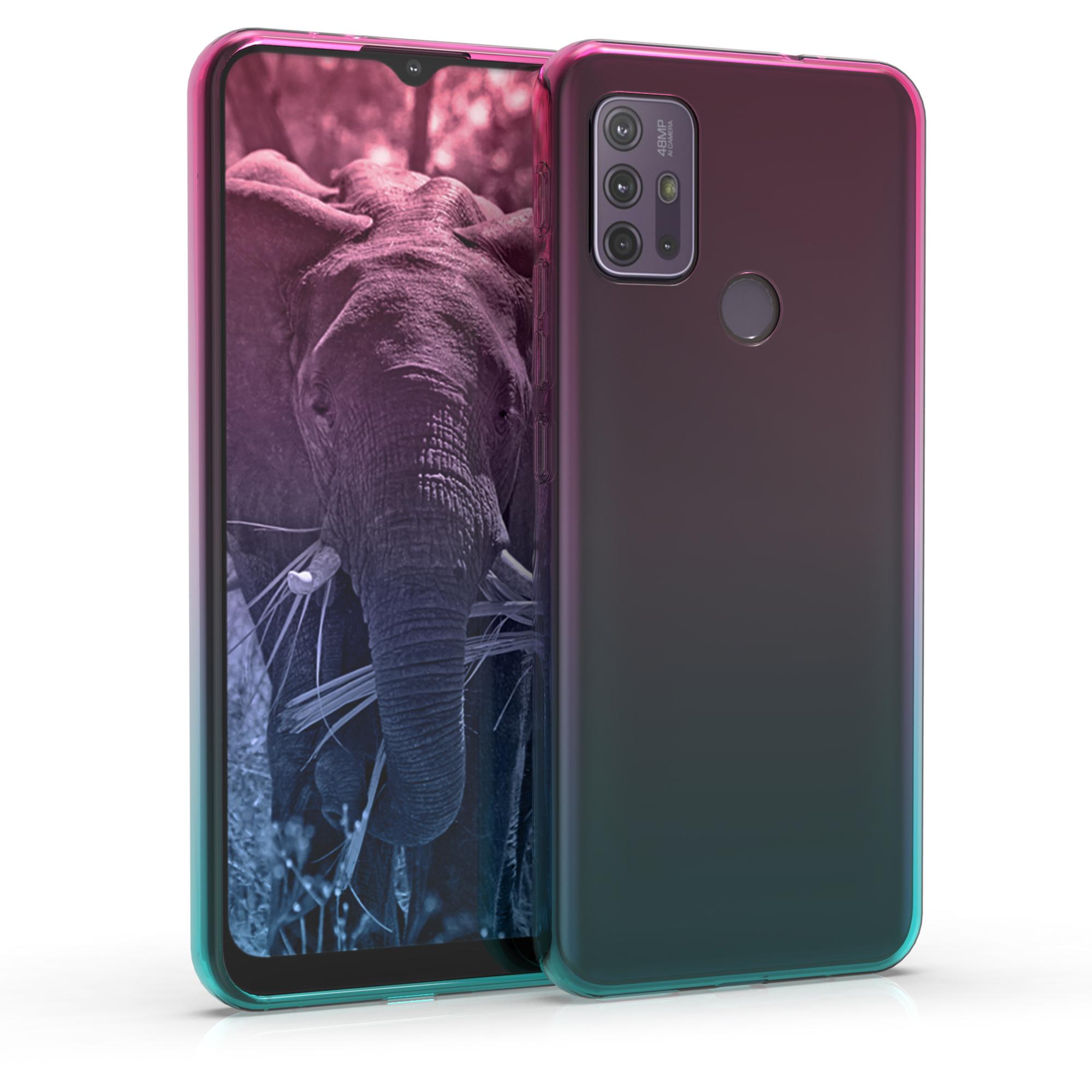 Kvalitní silikonové TPU pouzdro | obal pro Motorola Moto G30 / Moto G20 / Moto G10 - Dvoubarevná tmavě růžová / modrá / průhledná