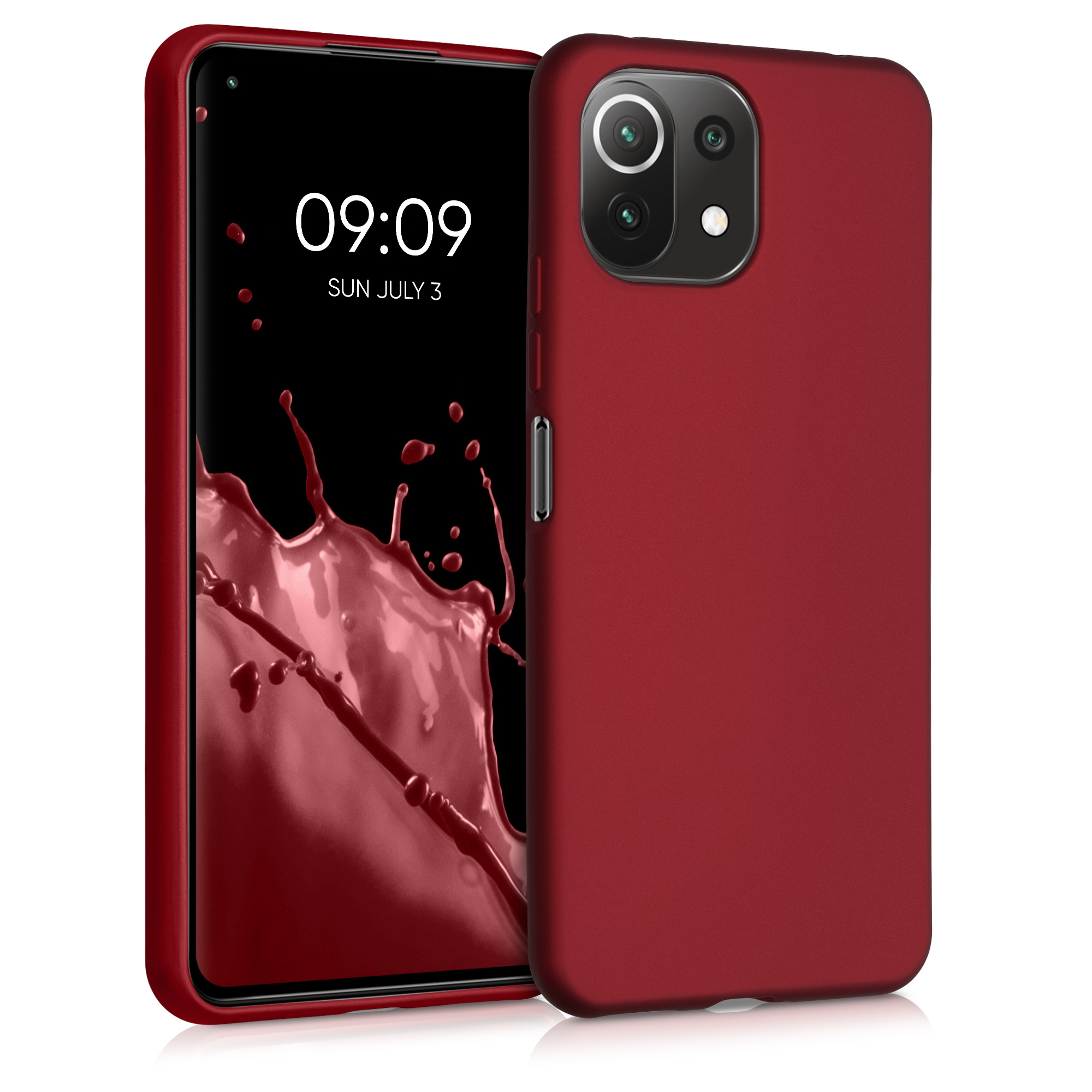 Kvalitní silikonové TPU pouzdro   obal pro Xiaomi Mi 11 Lite (5G) -  Tmavě červená metalická