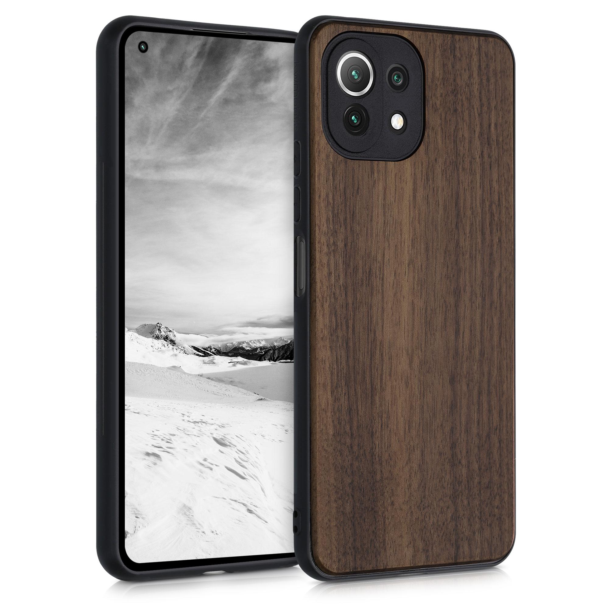 Dřevěné pouzdro   obal pro Xiaomi Mi 11 Lite (5G) -  Tmavě hnědá